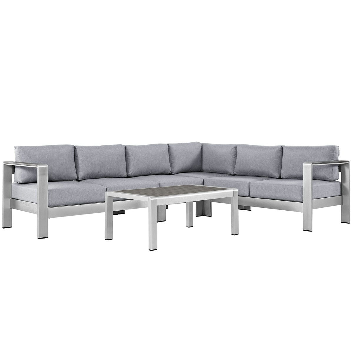 Superb Shore 5 Piece Outdoor Patio Aluminum Sectional Sofa Set Silver Gray By Modern Living Caraccident5 Cool Chair Designs And Ideas Caraccident5Info