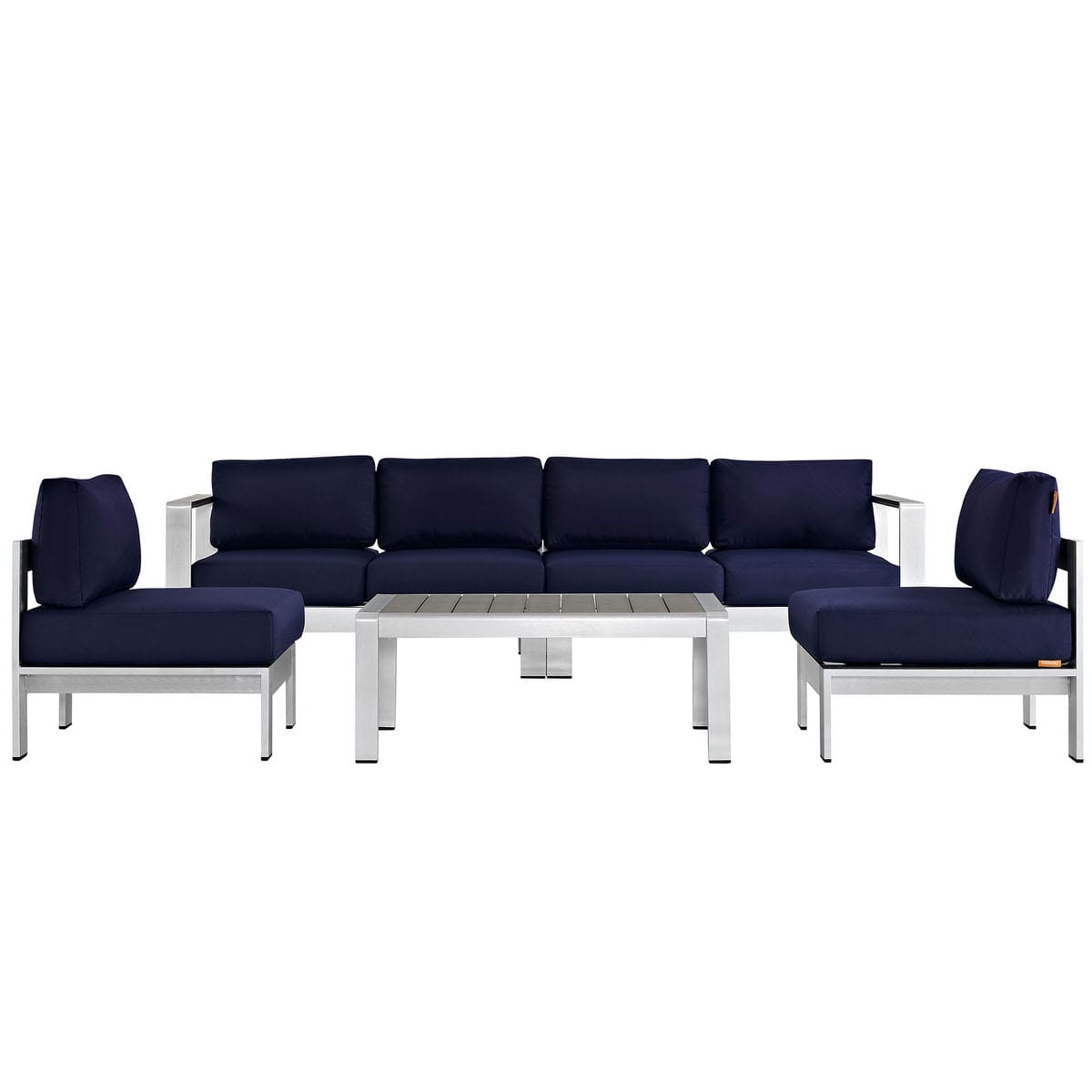Magnificent Shore 5 Piece Outdoor Patio Aluminum Sectional Sofa Set Silver Navy By Modern Living Unemploymentrelief Wooden Chair Designs For Living Room Unemploymentrelieforg