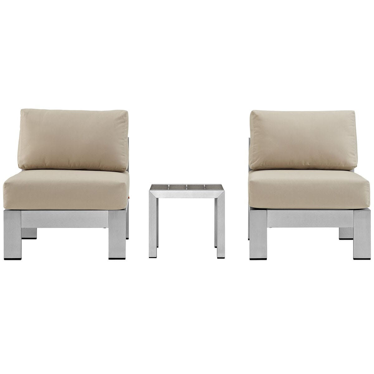 Magnificent Shore 3 Piece Outdoor Patio Aluminum Sectional Sofa Set Silver Beige By Modern Living Andrewgaddart Wooden Chair Designs For Living Room Andrewgaddartcom