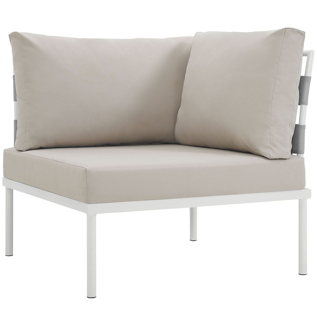 Harmony Outdoor Patio Aluminum Corner Sofa White Beige by Modern Living