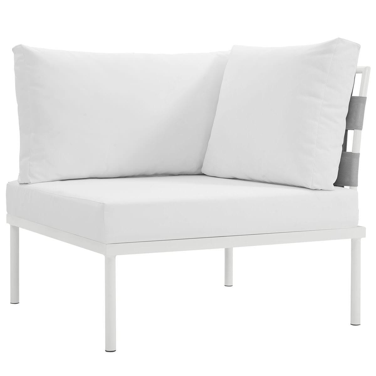 Harmony Outdoor Patio Aluminum Corner Sofa White White by Modern Living