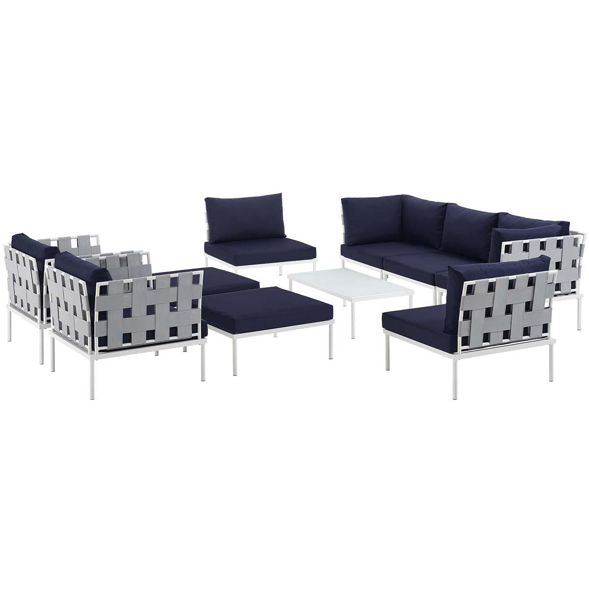 Harmony 10 Piece Outdoor Patio Aluminum Sectional Sofa Set White Navy by  Modern Living