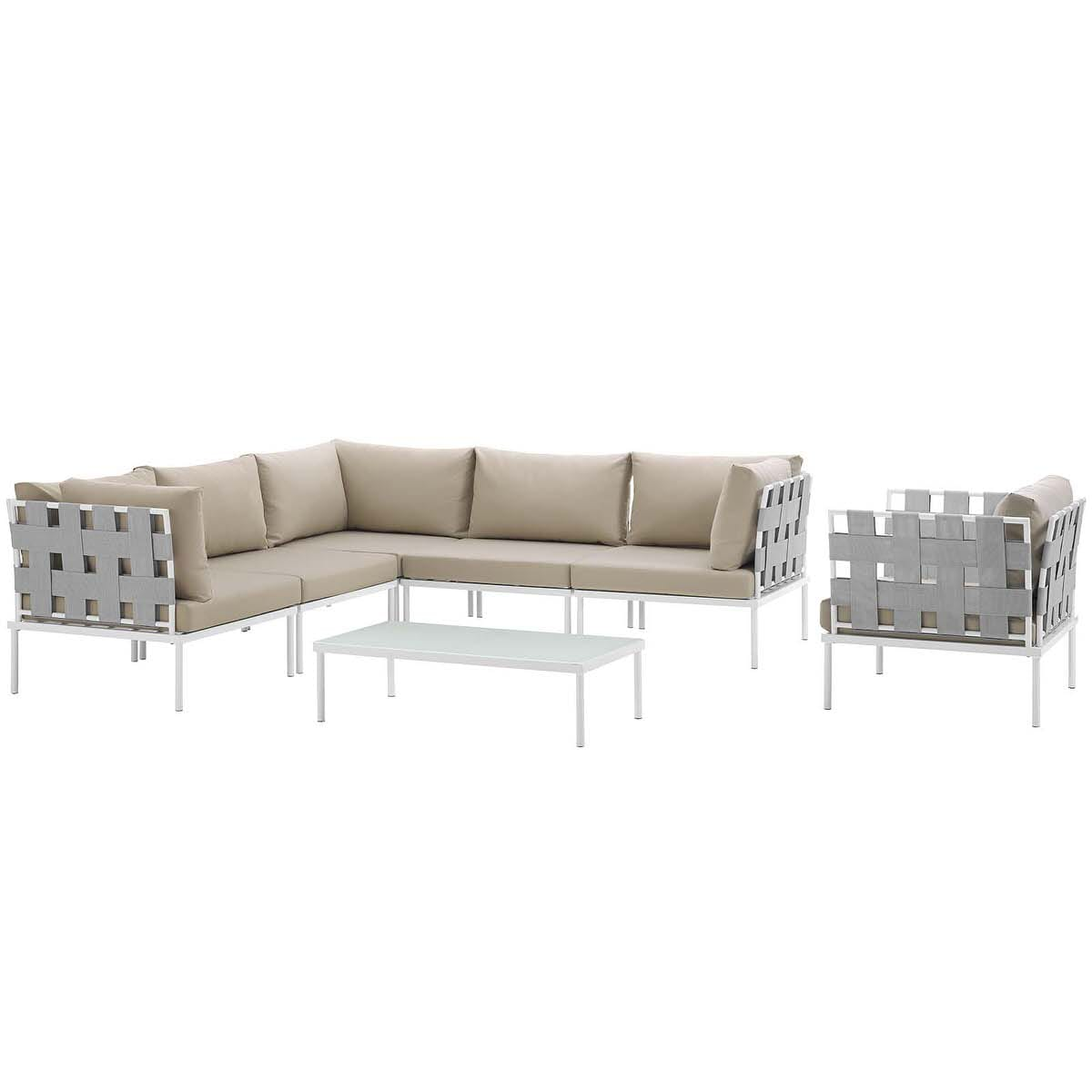 Harmony 7 Piece Outdoor Patio Aluminum Sectional Sofa Set ...