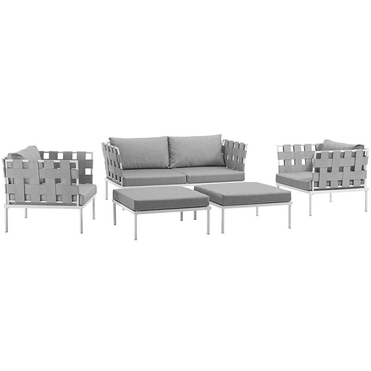 Harmony 5 Piece Outdoor Patio Aluminum Sectional Sofa Set White Gray ...
