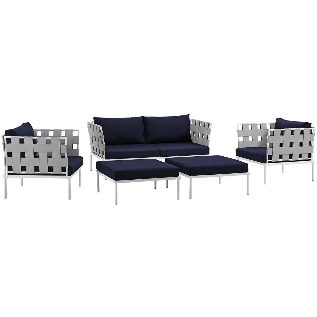 Harmony 5 Piece Outdoor Patio Aluminum Sectional Sofa Set White Navy by  Modern Living
