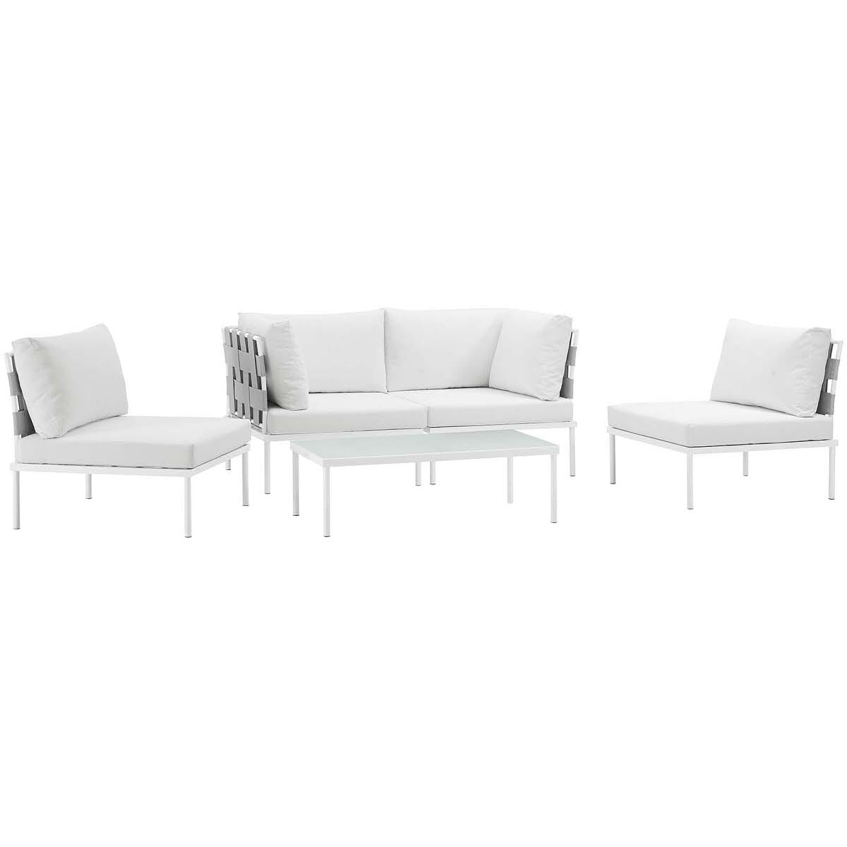 Harmony 5 Piece Outdoor Patio Aluminum Sectional Sofa Set White White by  Modern Living