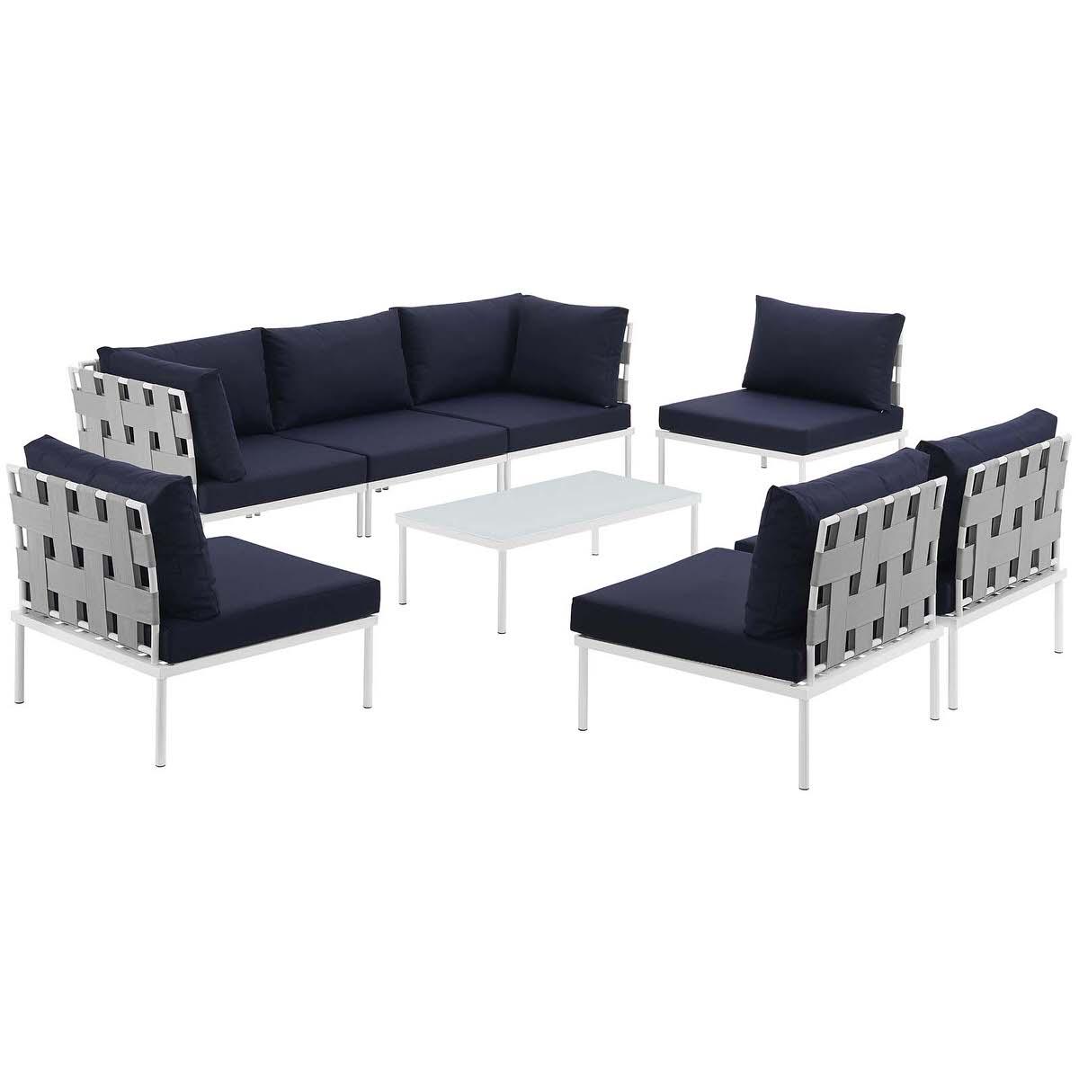 Harmony 8 Piece Outdoor Patio Aluminum Sectional Sofa Set White Navy ...