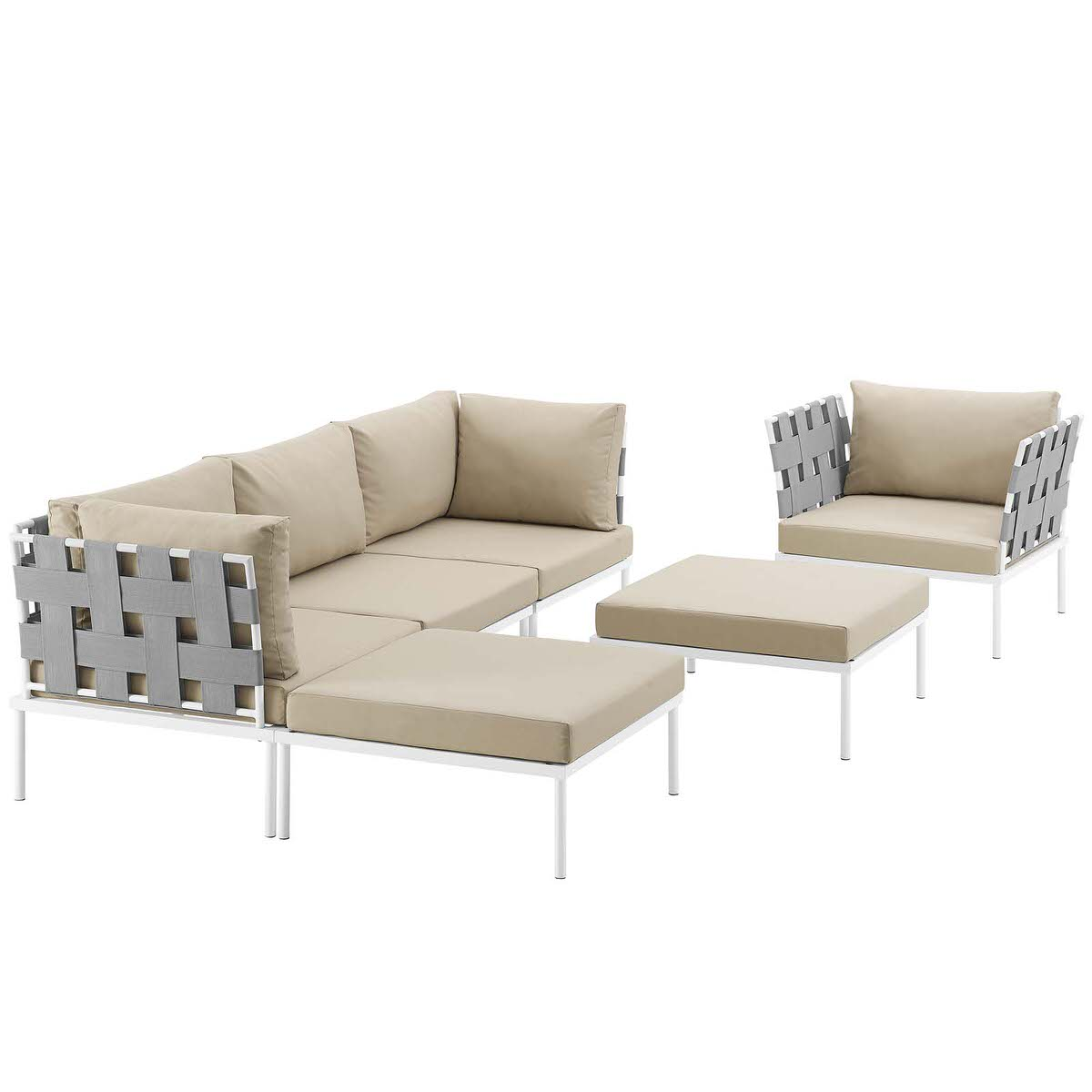 Harmony 6 Piece Outdoor Patio Aluminum Sectional Sofa Set White Beige by  Modern Living