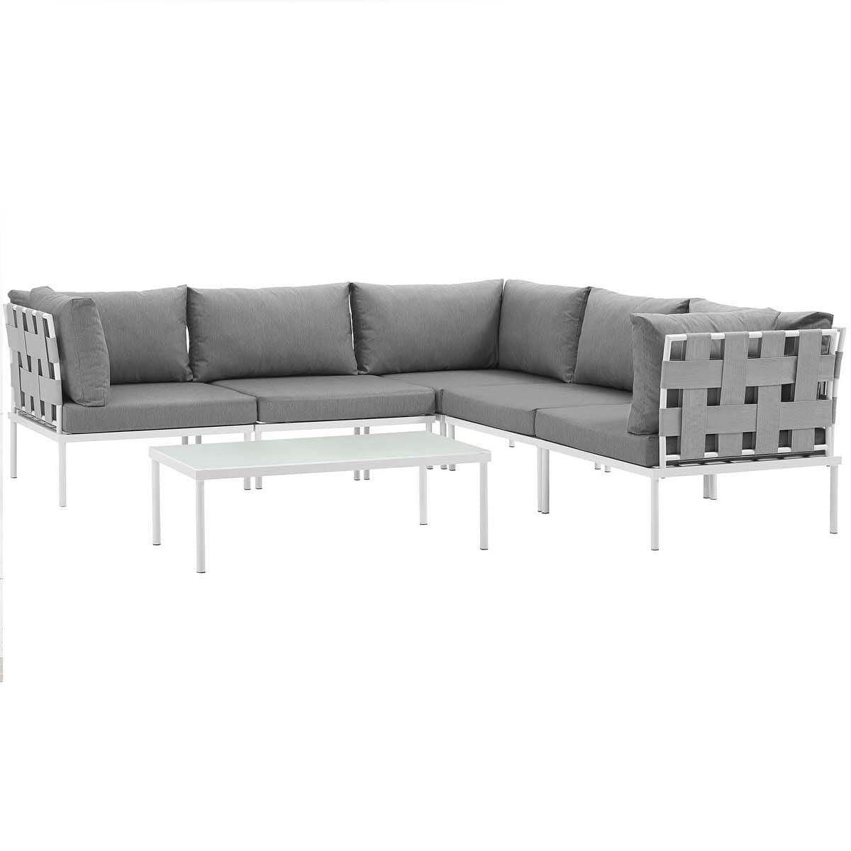 Harmony 6 Piece Outdoor Patio Aluminum Sectional Sofa Set White Gray by  Modern Living