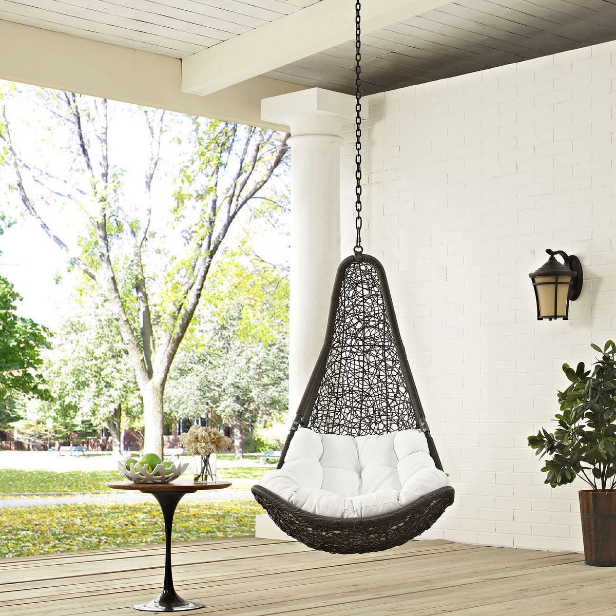 Abate Outdoor Patio Swing Chair Without Stand Gray White By Modern Living