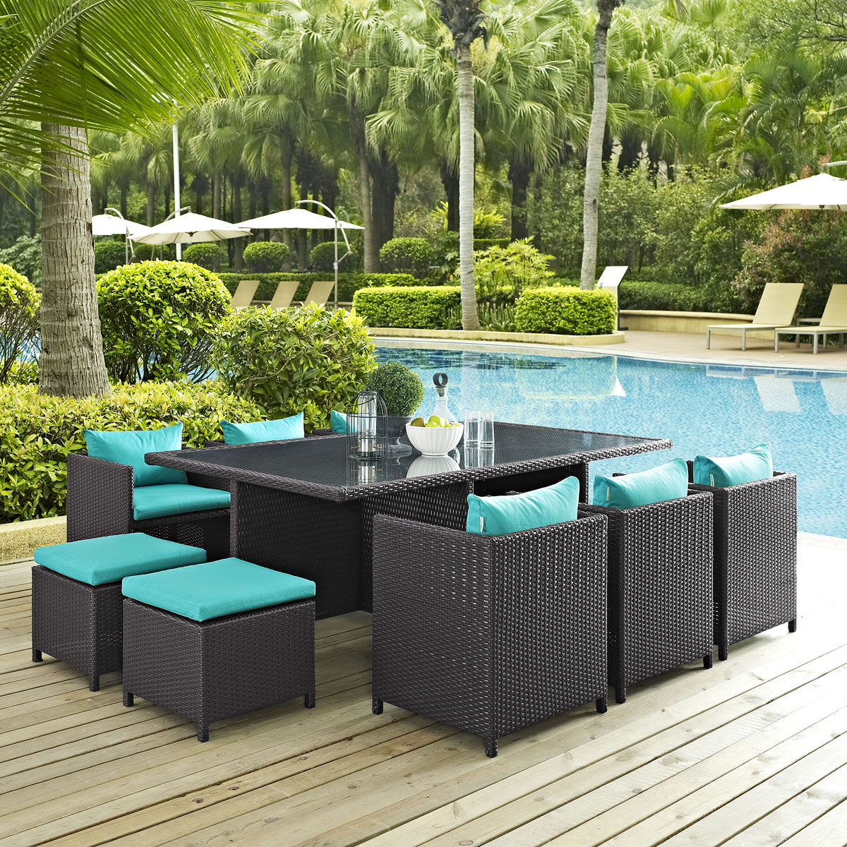 Reversal 11 Piece Outdoor Patio Dining Set Espresso Turquoise By Modway