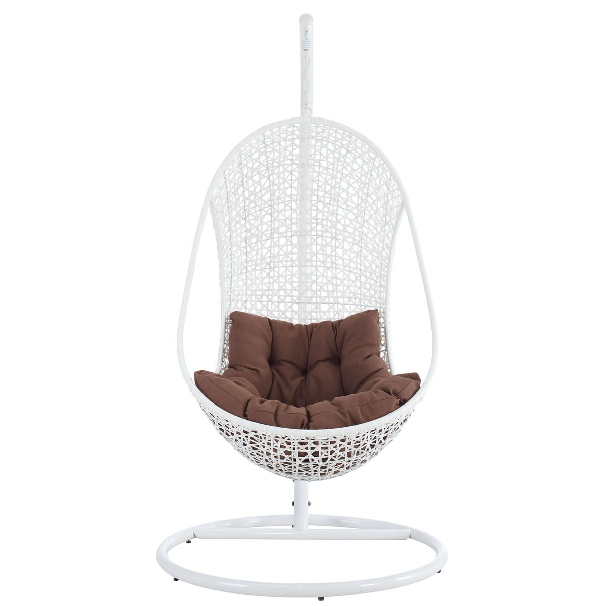 Remarkable Bestow Swing Outdoor Patio Lounge Chair White Brown By Modern Living Onthecornerstone Fun Painted Chair Ideas Images Onthecornerstoneorg