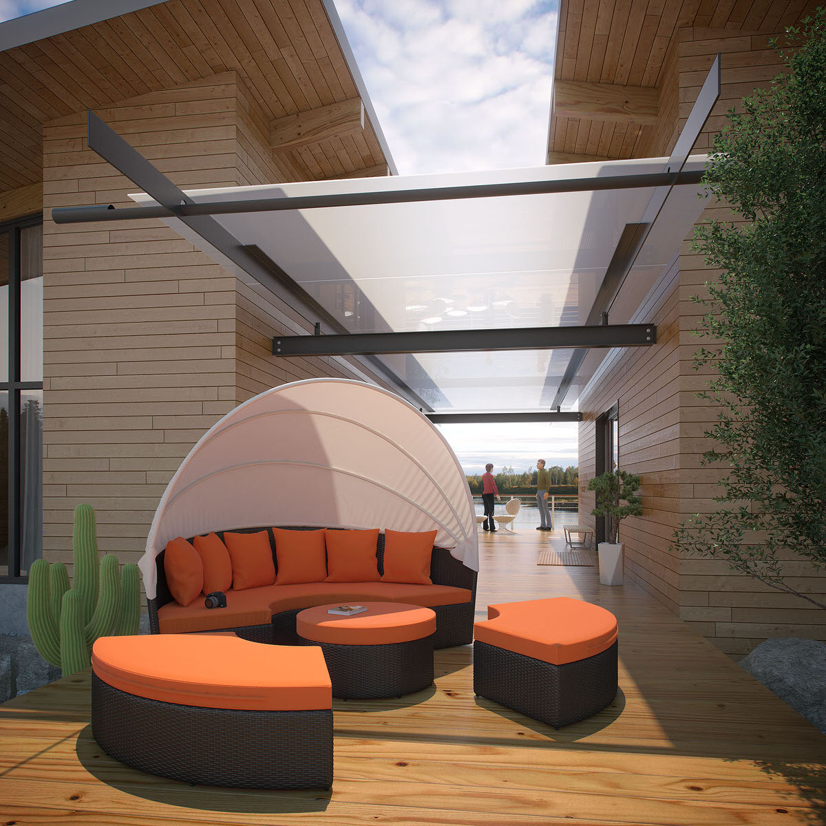 & Quest Canopy Outdoor Patio Daybed Espresso Orange by Modway