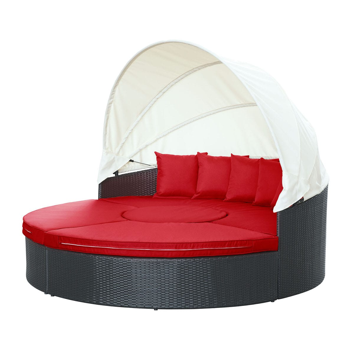 quest canopy outdoor patio daybed espresso red by modern living rh futonland com DIY Outdoor Daybed with Canopy Outdoor Daybed Mattress
