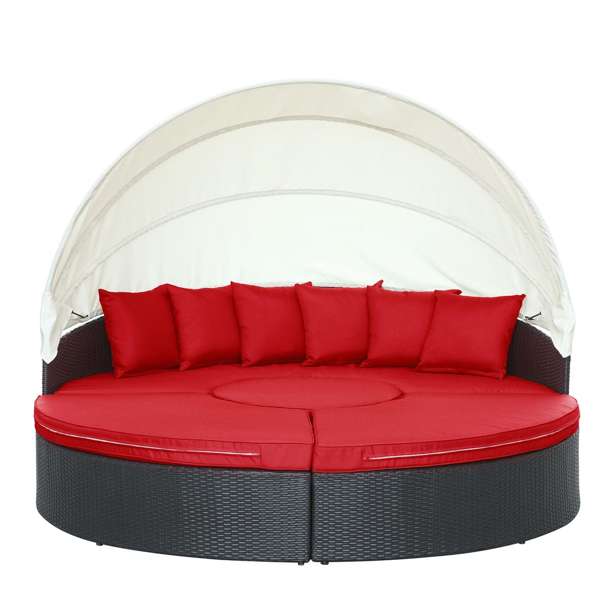 Quest Canopy Outdoor Patio Daybed Espresso Red by Modern Living