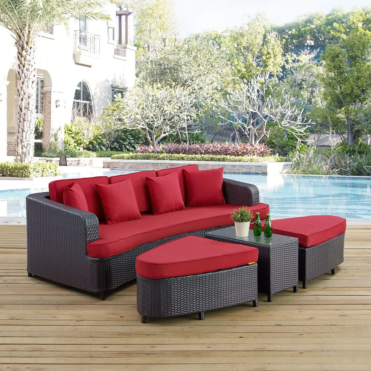 Monterey 4 Piece Outdoor Patio Sofa Set Brown Red by Modern Living