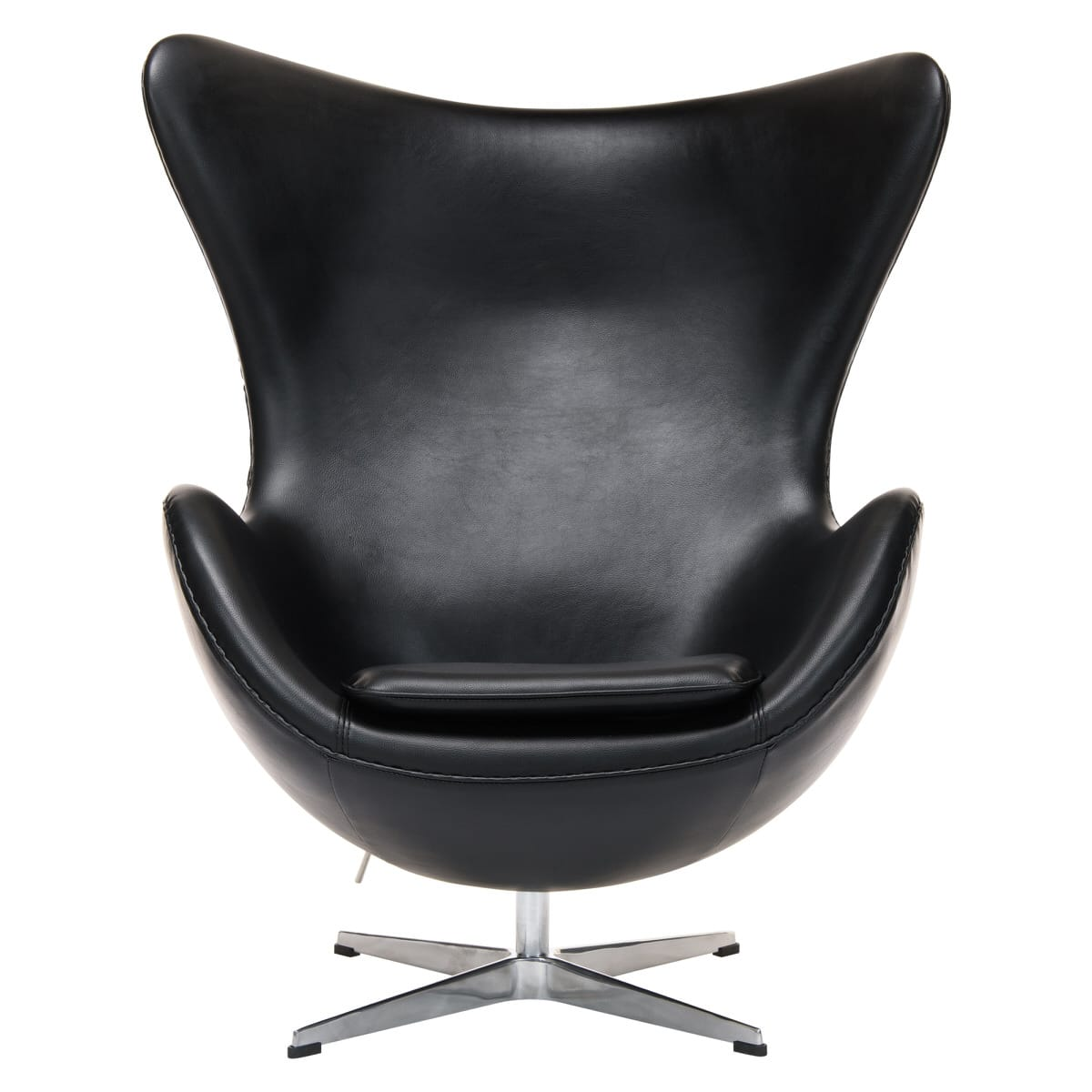 Super Egg Arne Jacobsen Style Black Leather Chair By Leisuremod Pabps2019 Chair Design Images Pabps2019Com