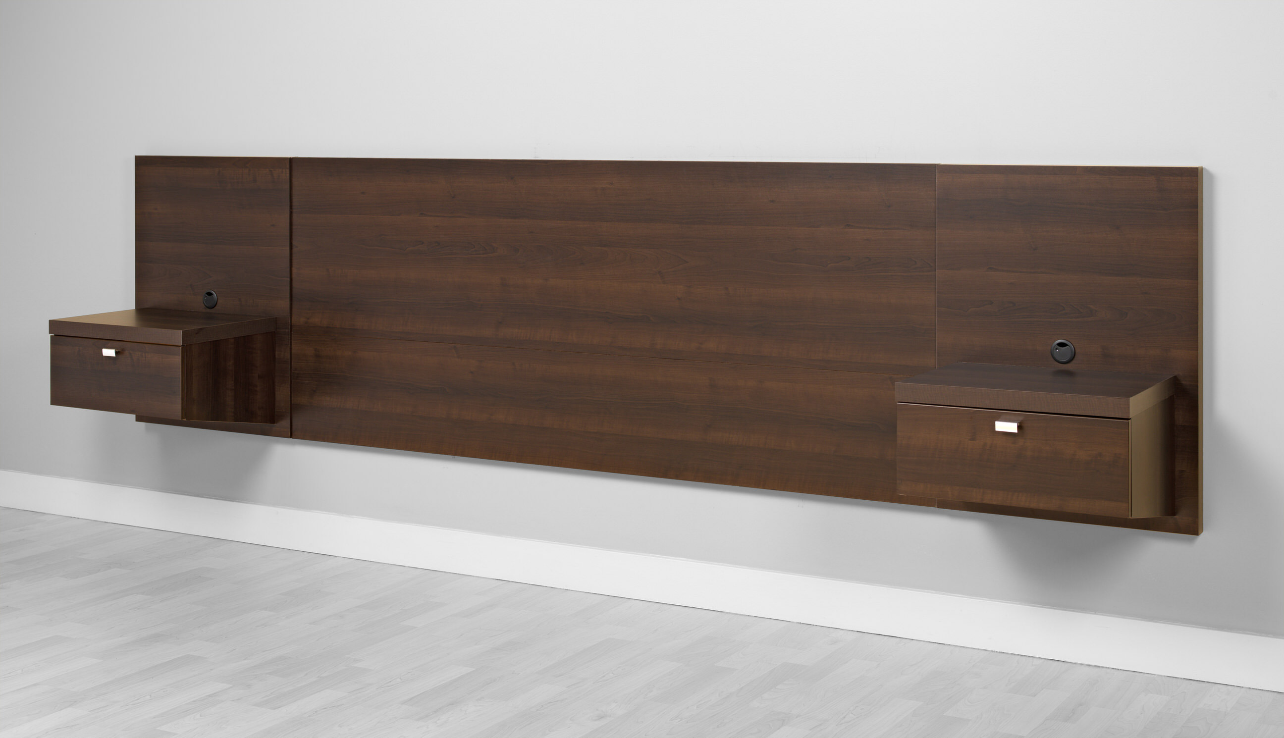 Prepac espresso series 9 wall mounted headboard system with 2 - Series 9 Designer Floating King Headboard With Nightstands By Prepac Espresso