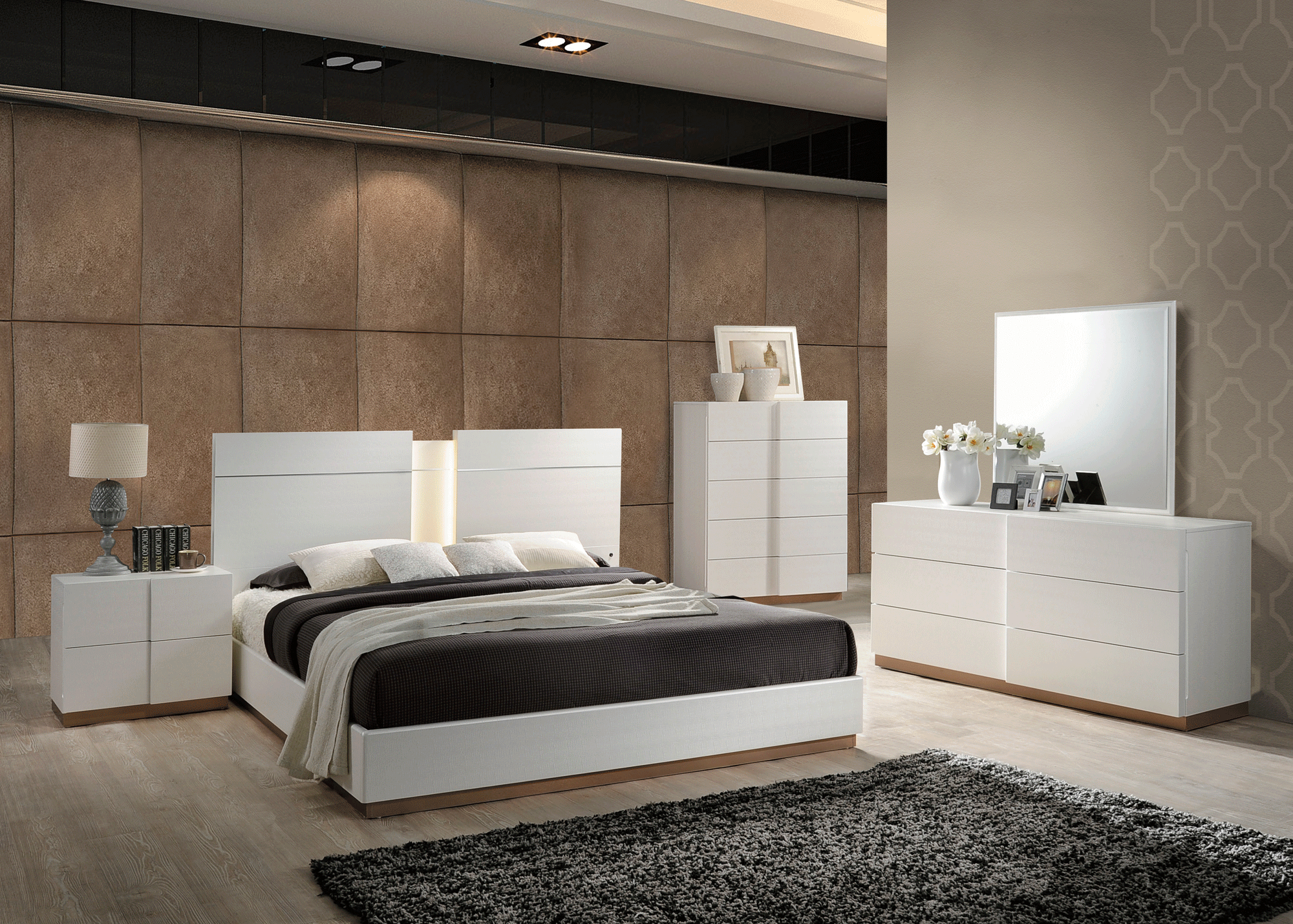 Paris Leather Cream Bedroom Set w 8119 Cream PU Bed by Global Furniture