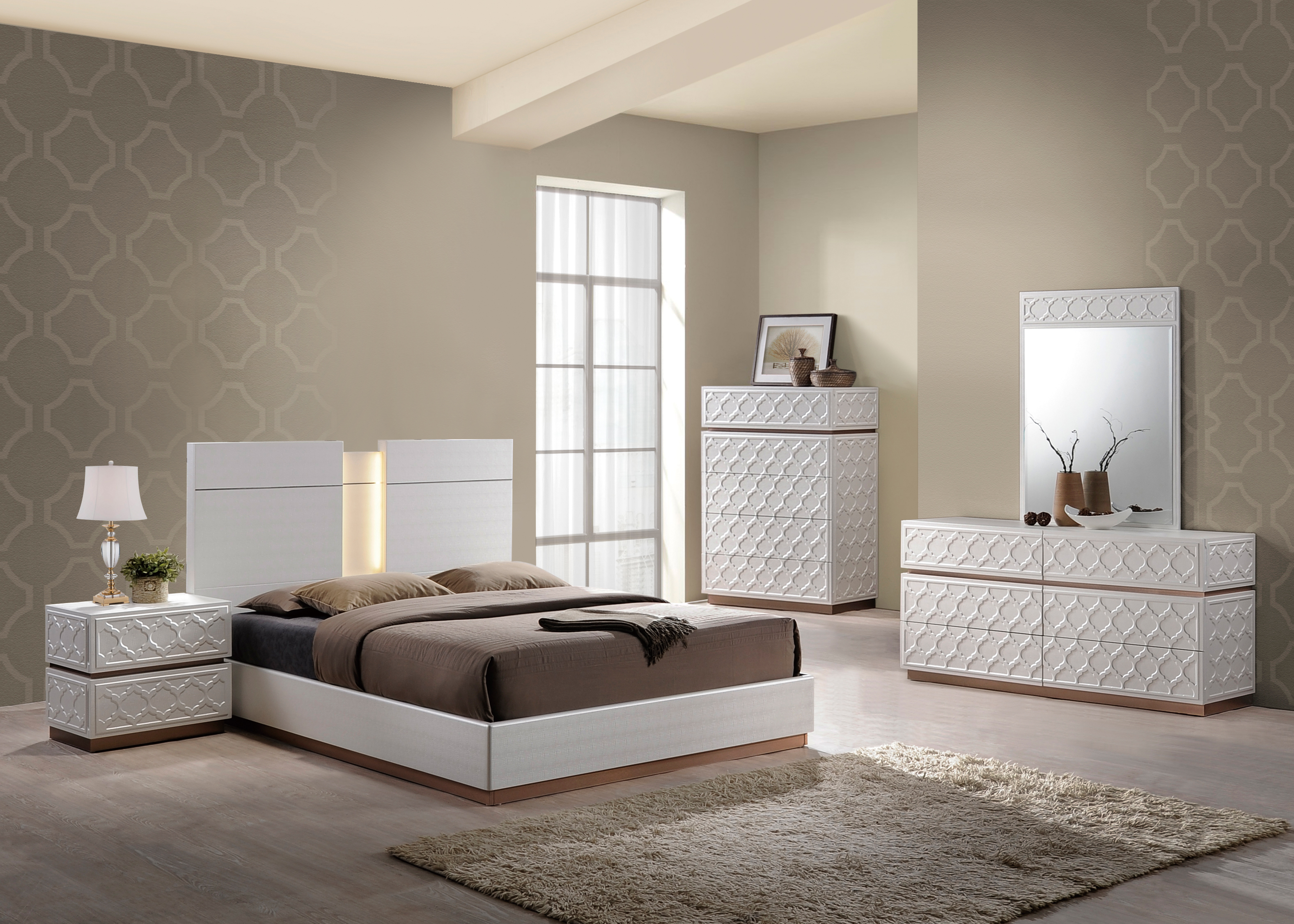 Emma Leather Cream Bedroom Set by Global Furniture