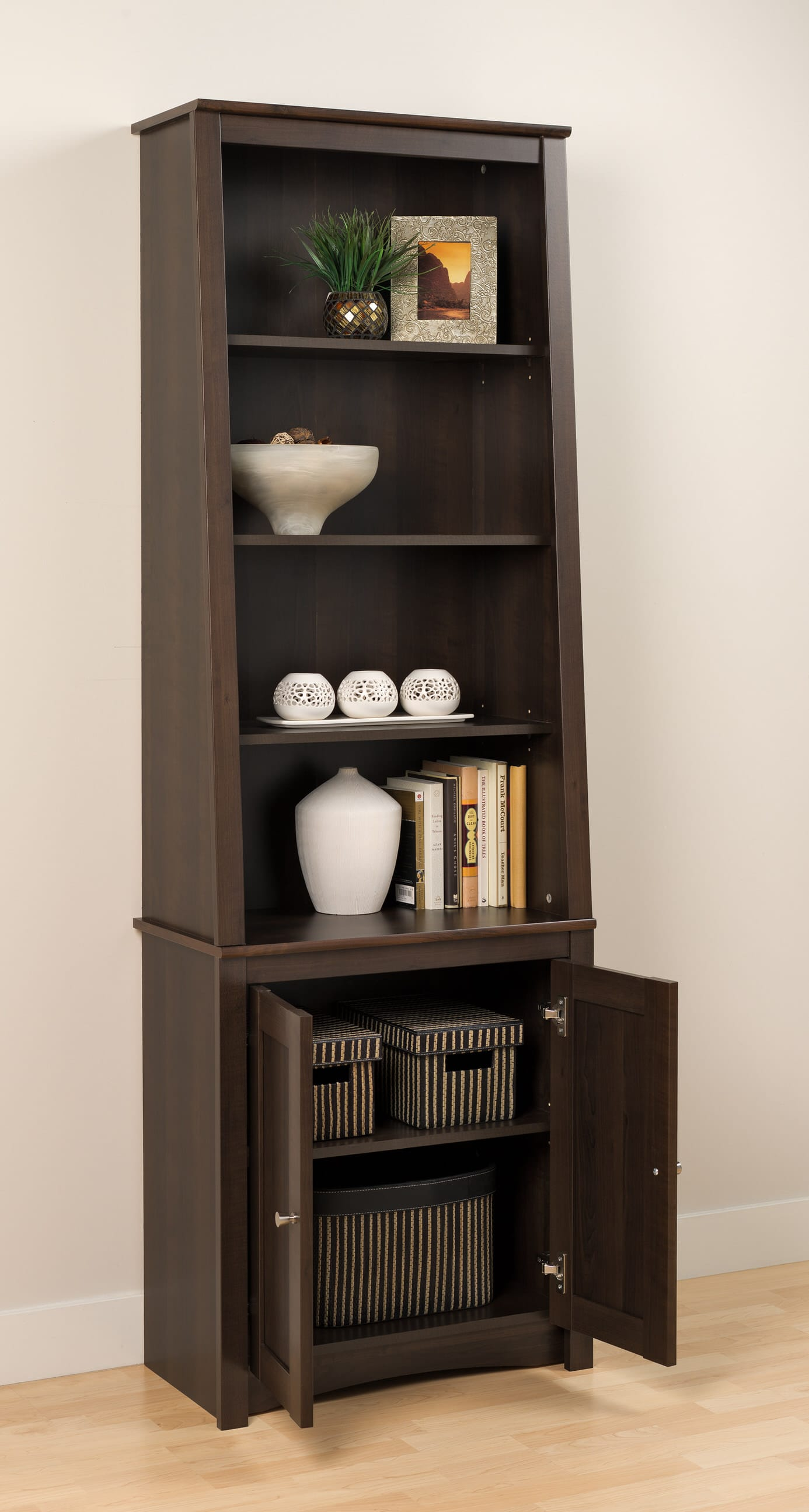 tall slant back bookcase w doors by prepac. Black Bedroom Furniture Sets. Home Design Ideas
