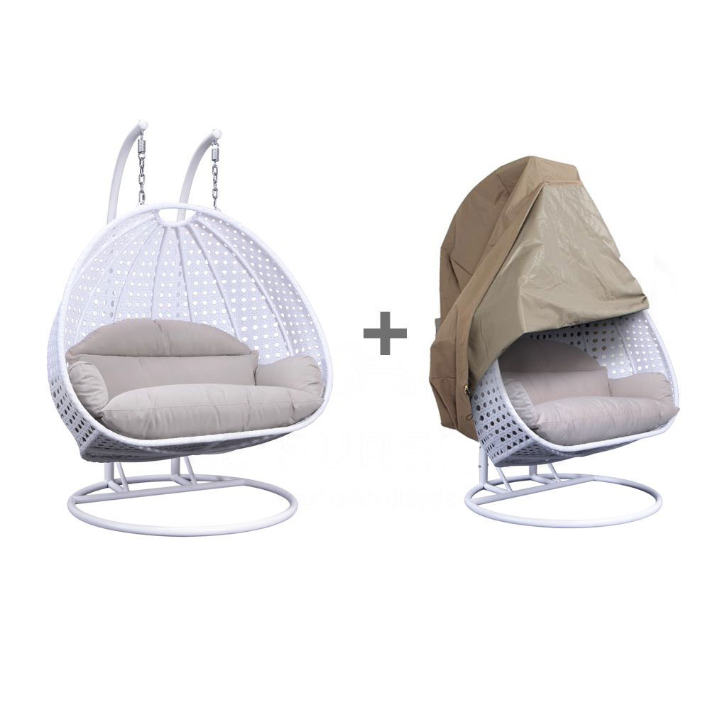 Wicker Hanging Egg Swing Chair Double Seater White W Beige Seat Outdoor Cover By Leisuremod