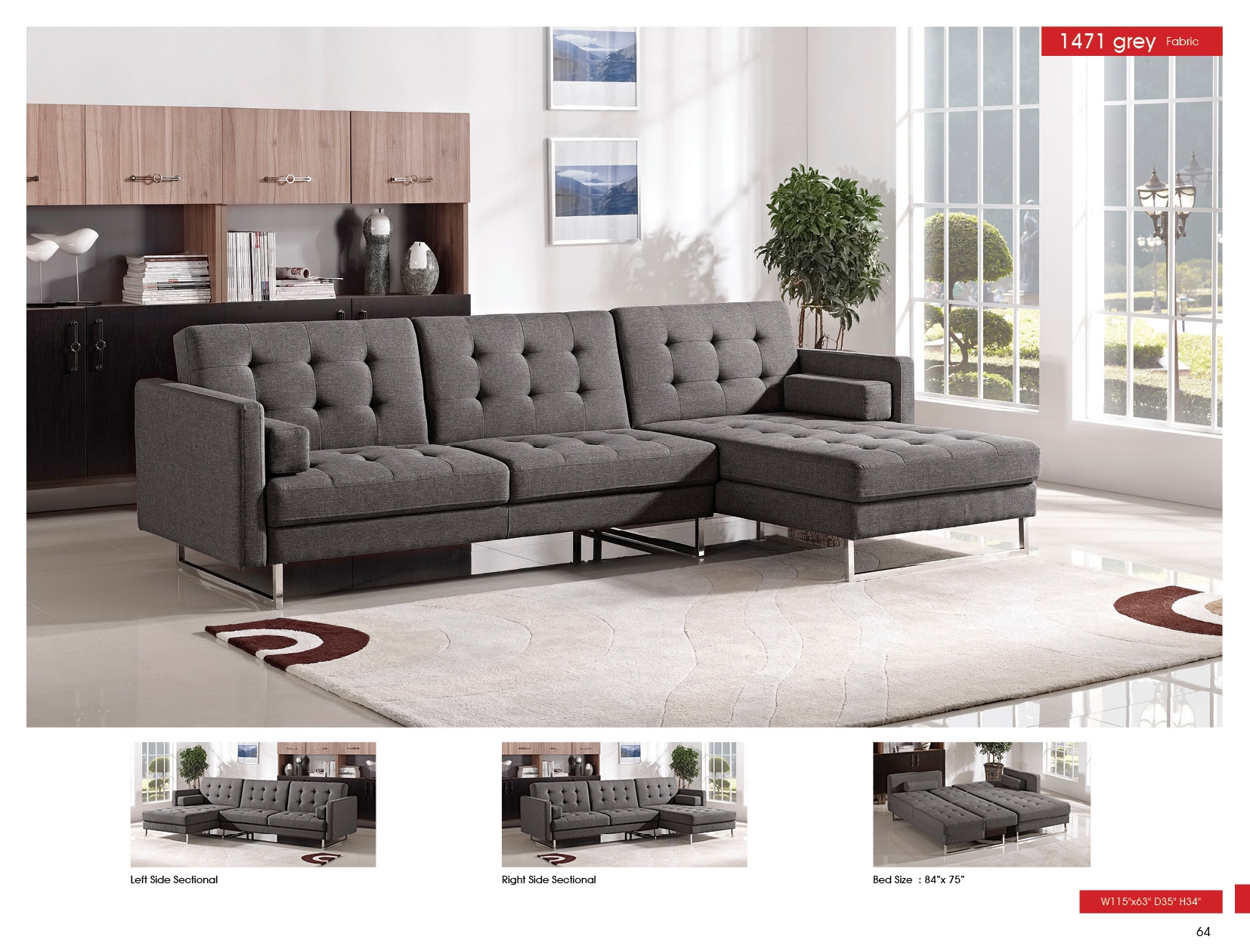 1471 Fabric Sectional w Sleeper by ESF