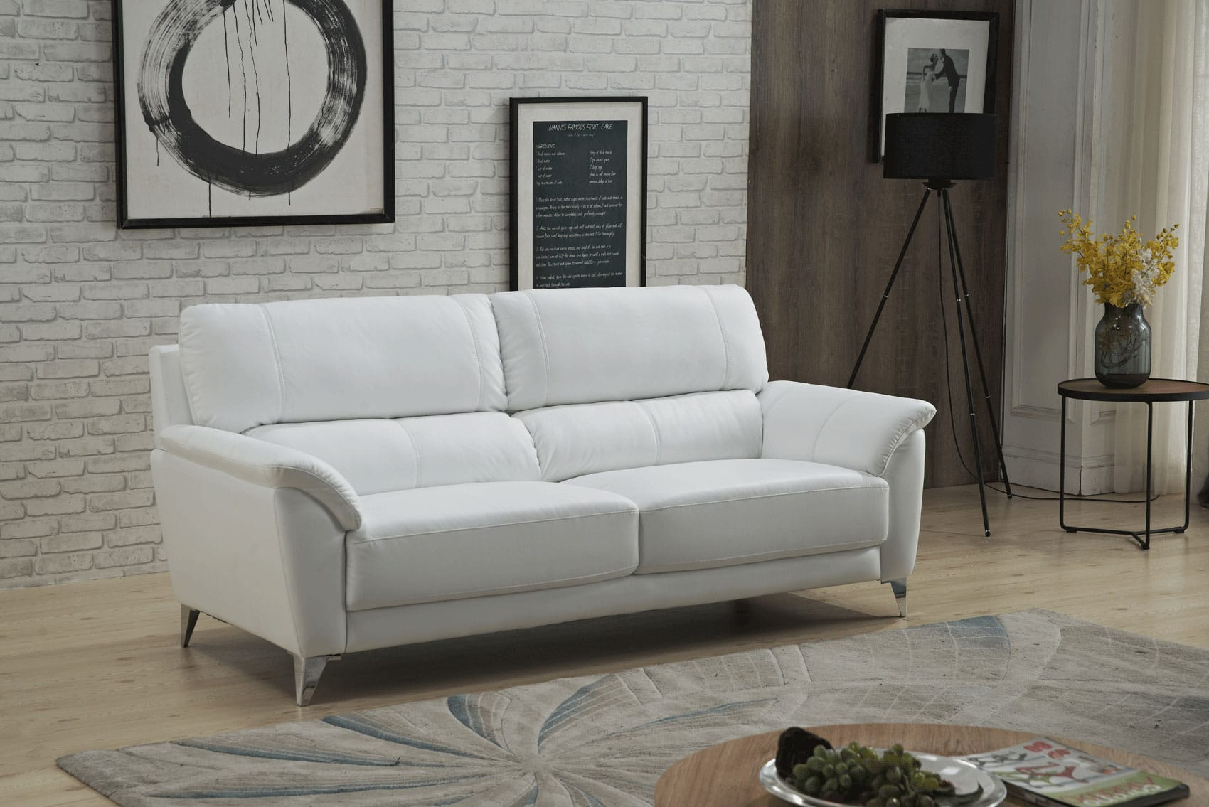 406 White Leather Sofa by ESF