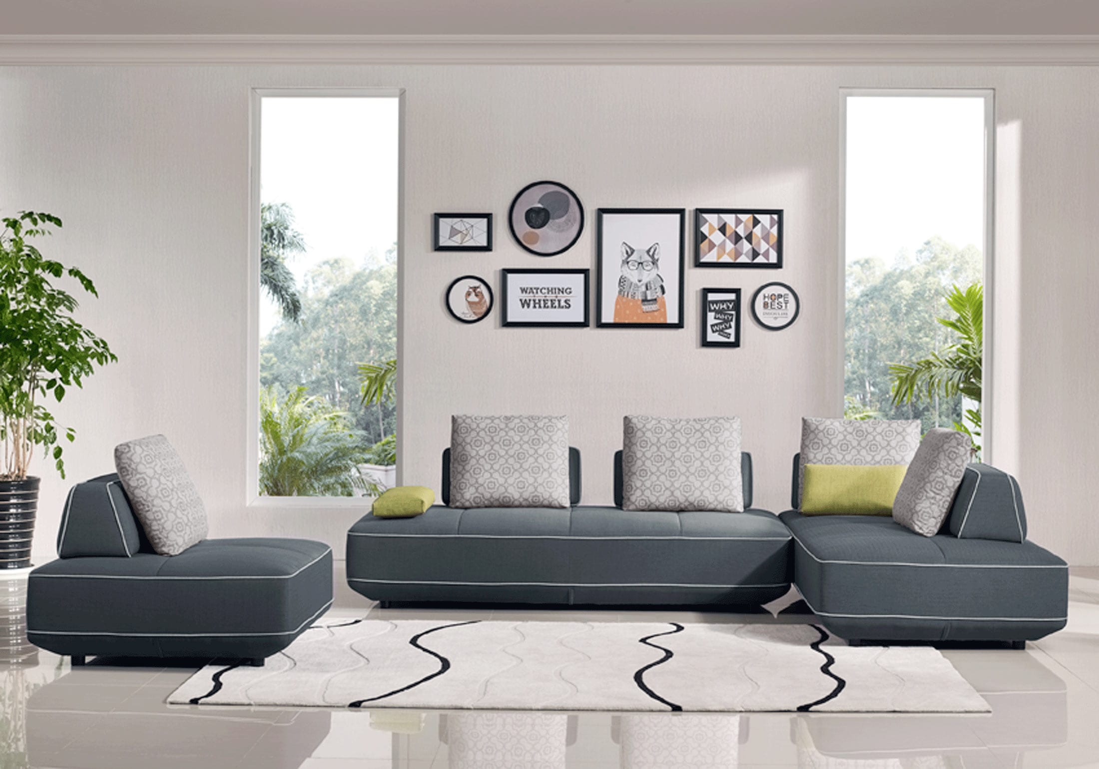 Blackberry Transforming Sectional Bed Gray by ESF