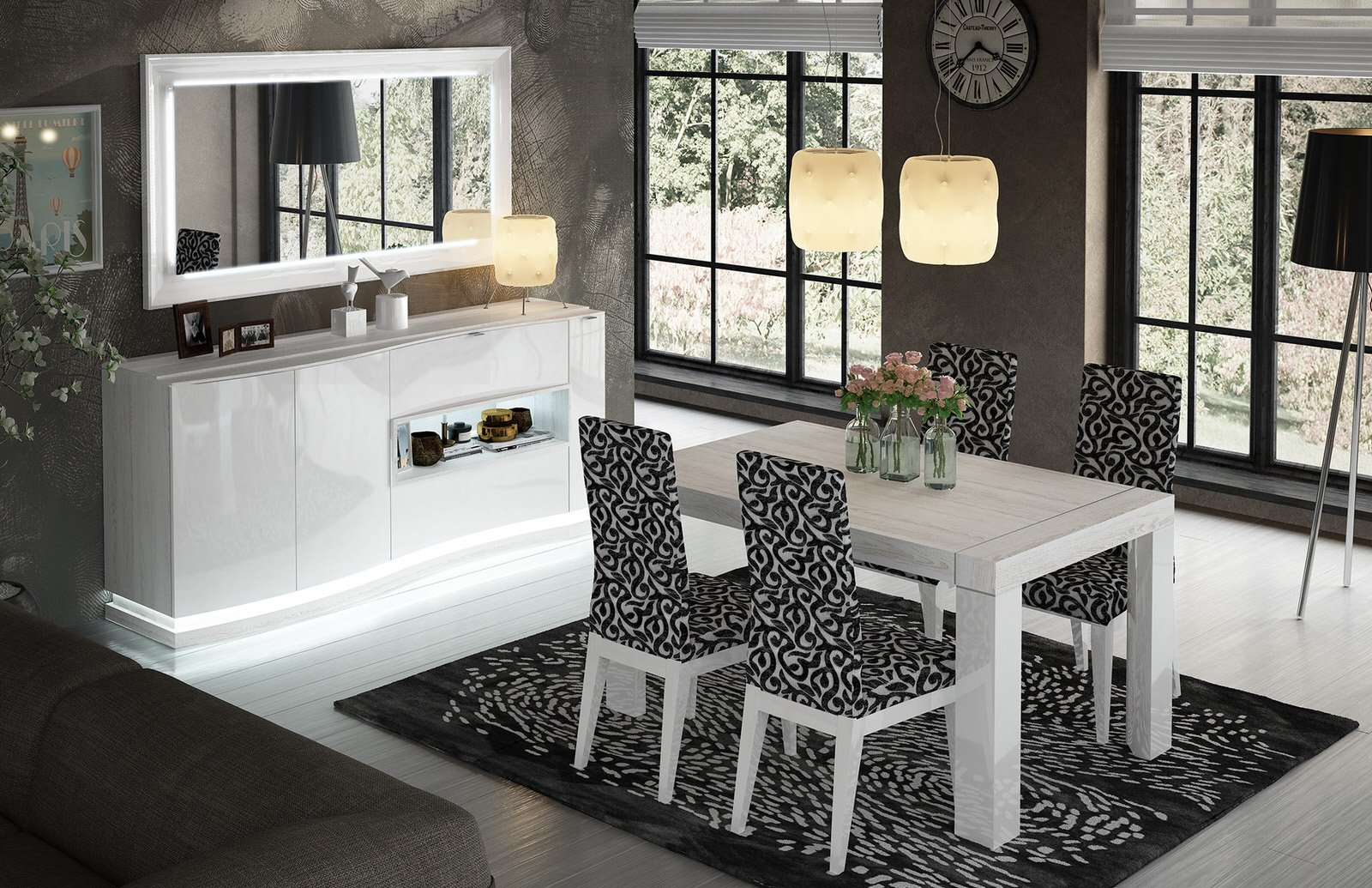 Cordoba White Wood Dining Table W Extention By Esf