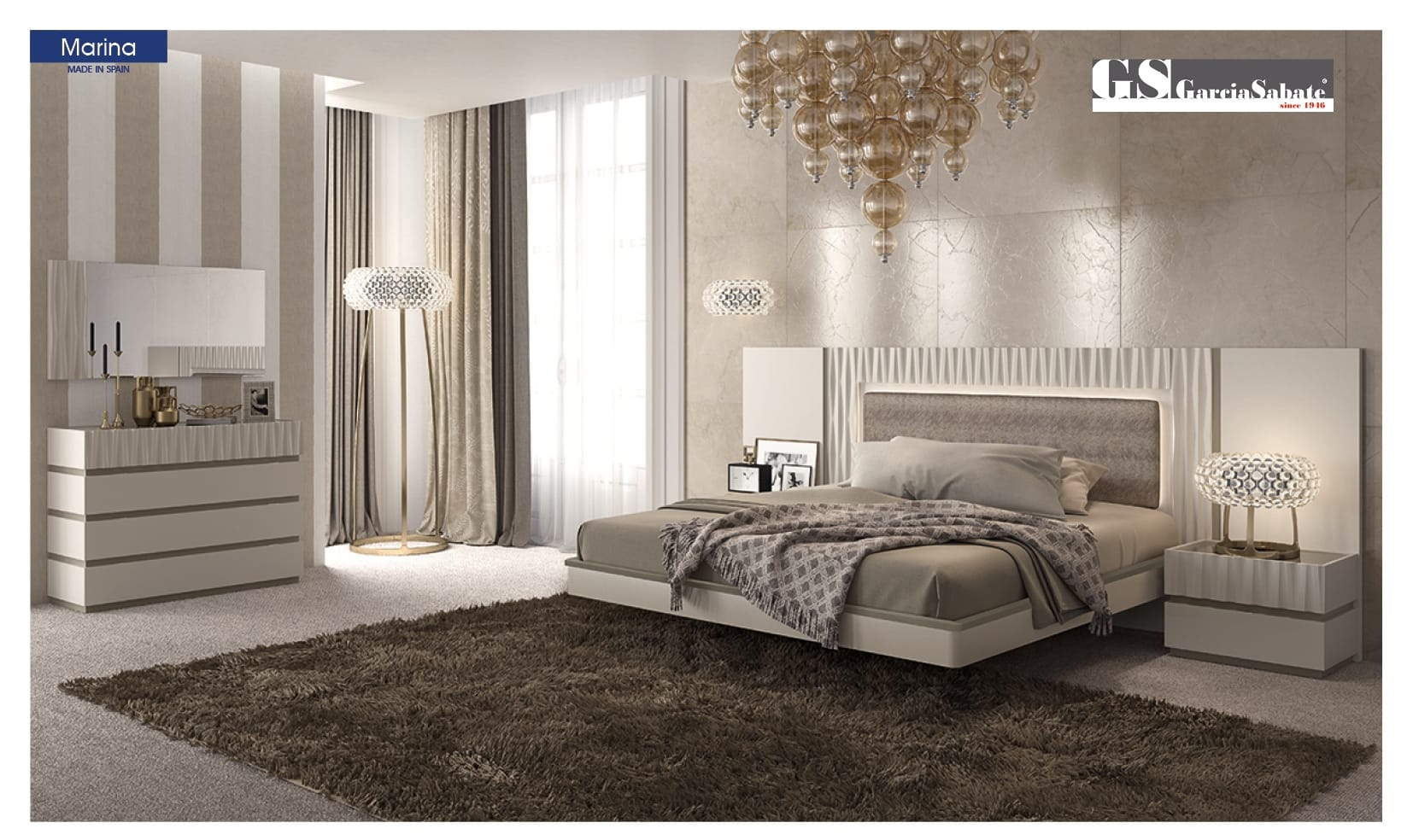 Marina White Bedroom Set by ESF