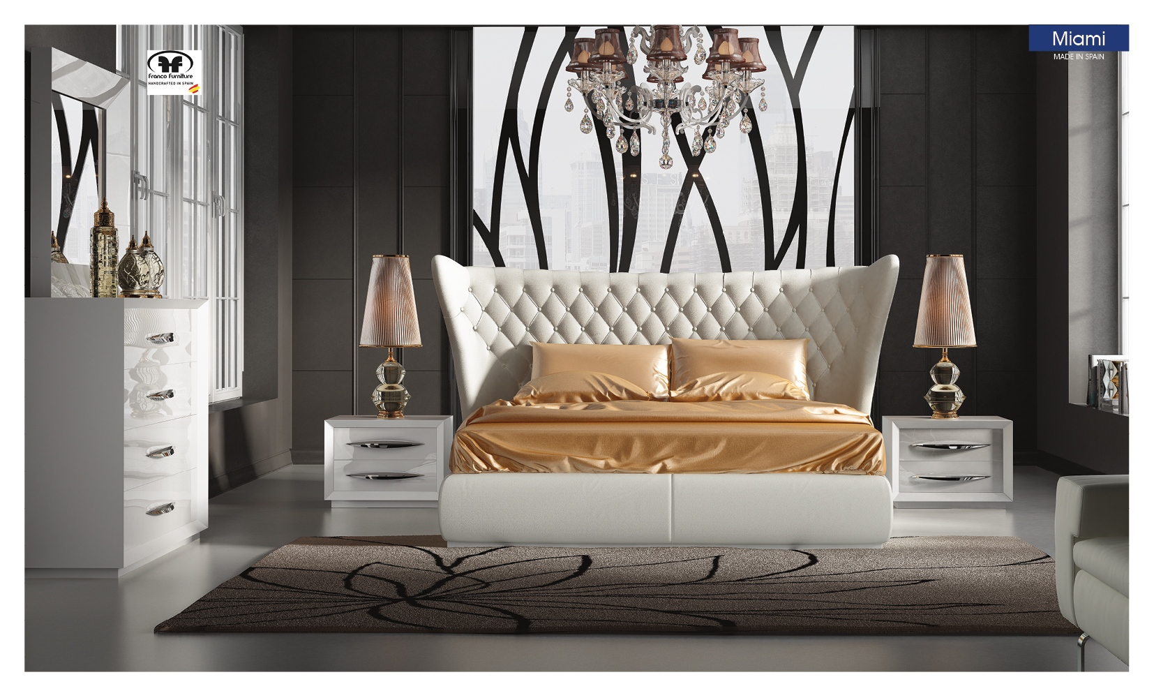 Miami White Bedroom Set by ESF