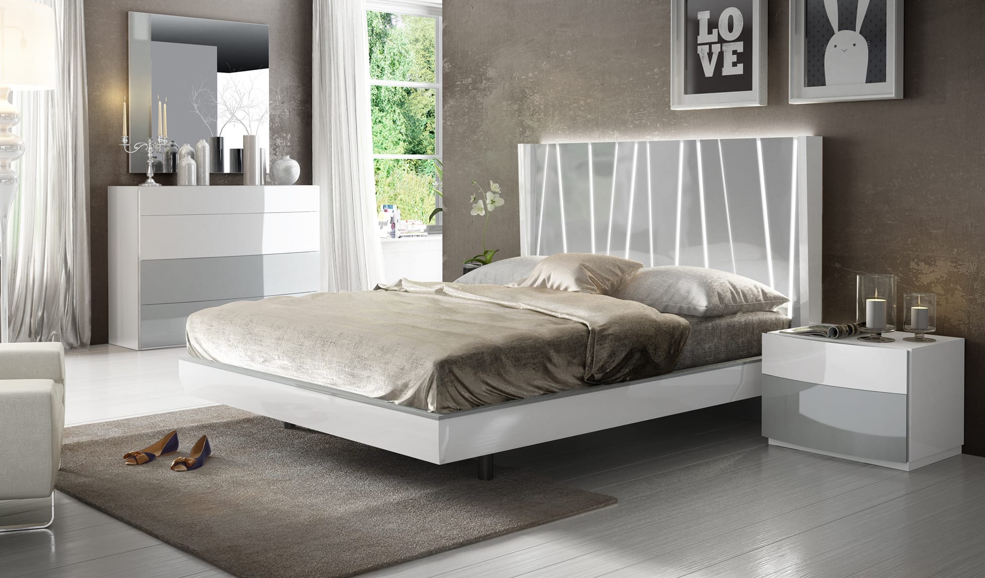 Ronda Dali White Gray Bedroom Set By Esf
