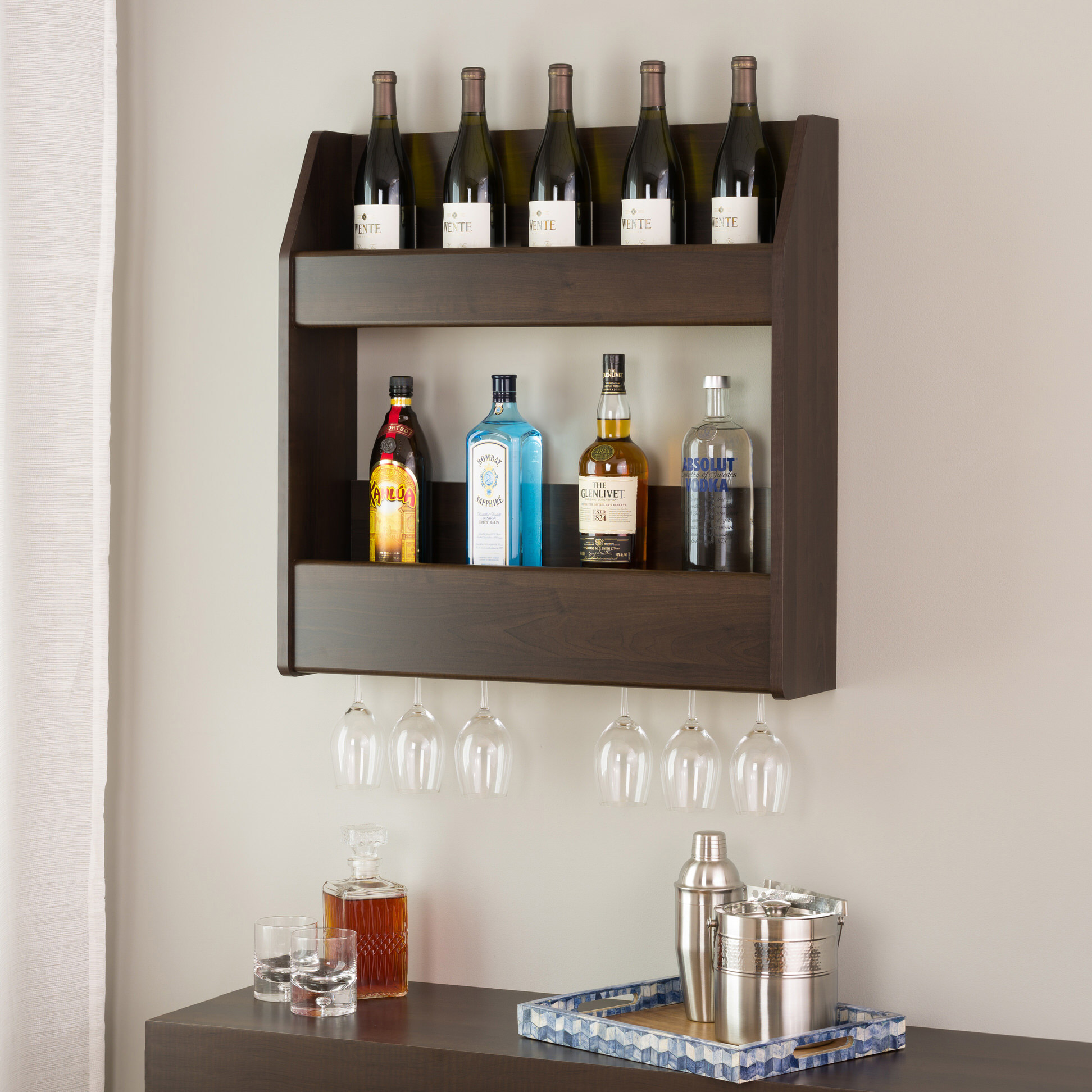 2 tier floating wine and liquor rack by prepac. Black Bedroom Furniture Sets. Home Design Ideas
