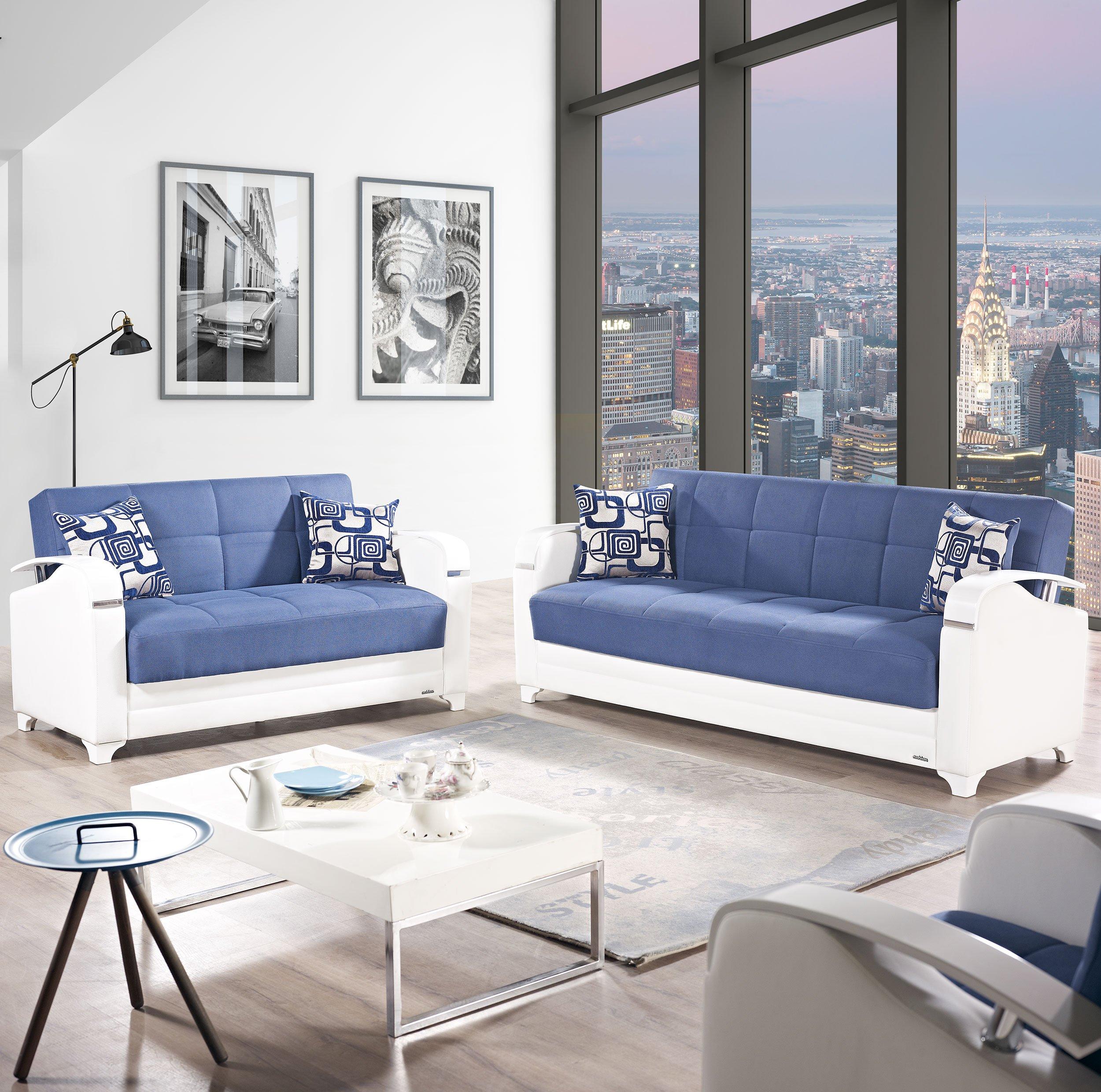 Sleeper Sofa Navy Blue: Etro Vintage Navy Blue Fabric Sofa Bed By Mobista