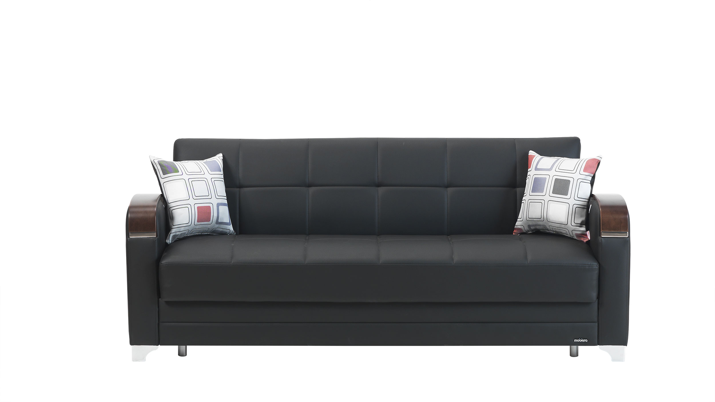 Etro Prestige Black Leatherette Sofa Bed By Mobista