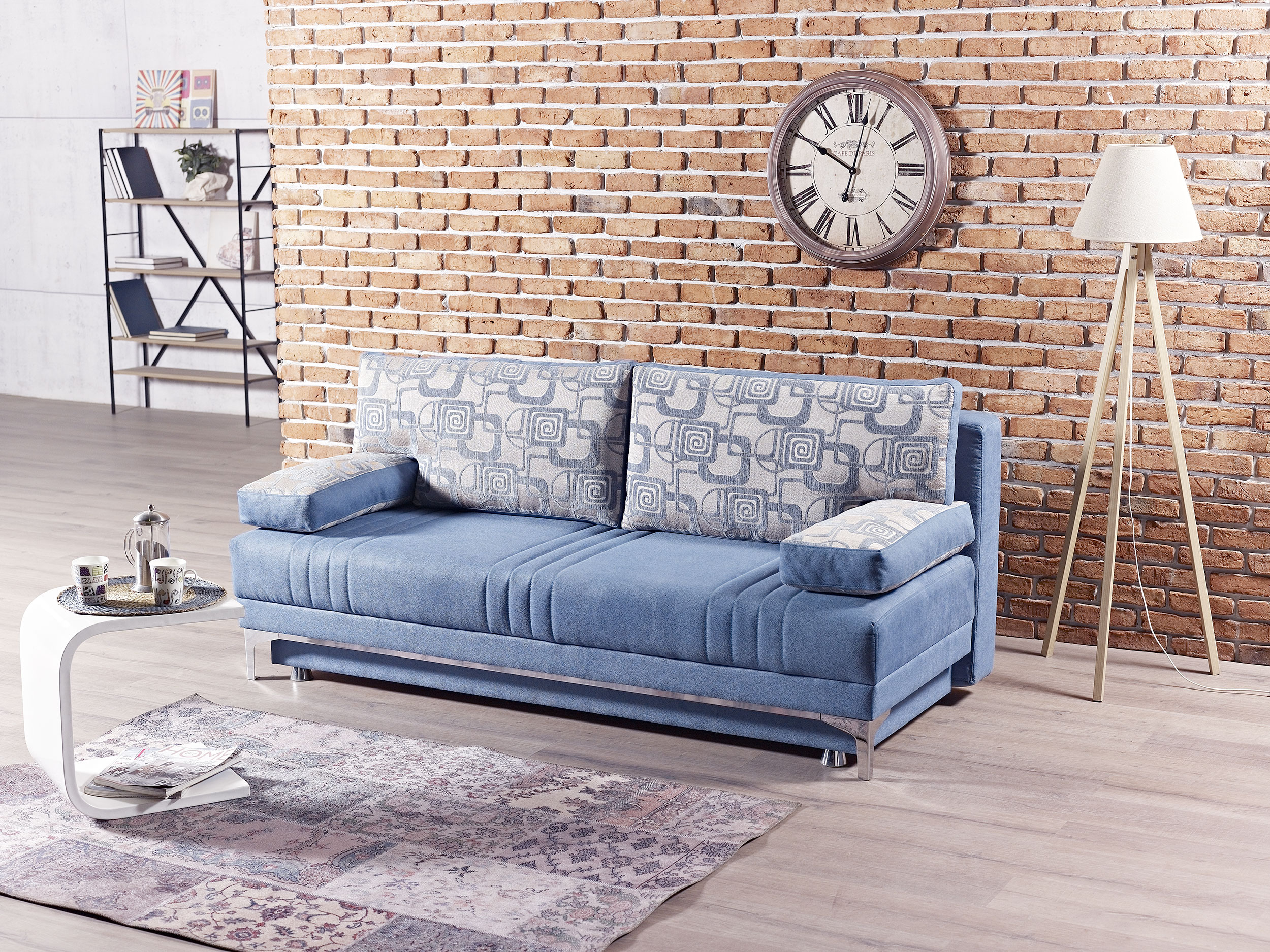 Europa Vintage Blue Queen Size Sofa Bed by Mobista