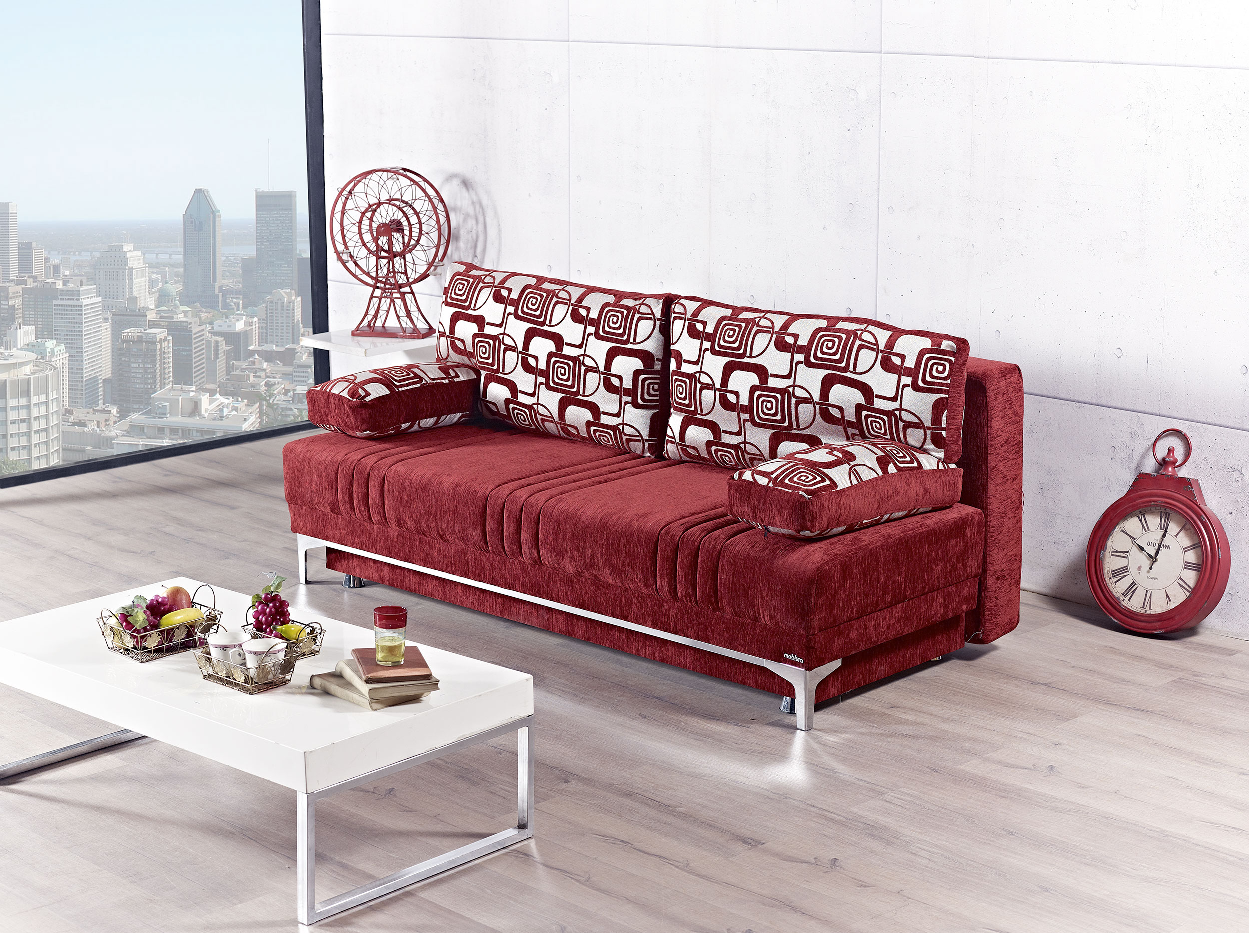 Europa Vigo Burgundy Plain Queen Size Sofa Bed by Mobista