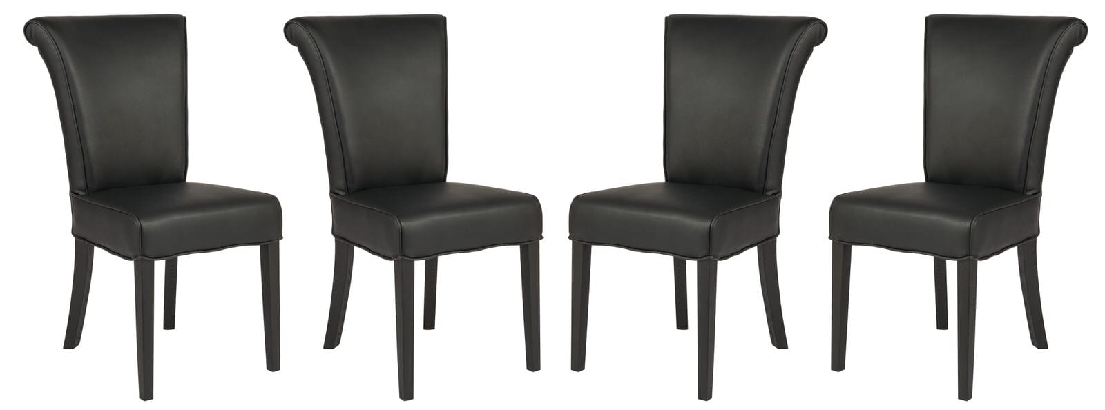 Super Eden Contemporary Faux Leather Black Dining Chair Set Of 4 By Leisuremod Alphanode Cool Chair Designs And Ideas Alphanodeonline