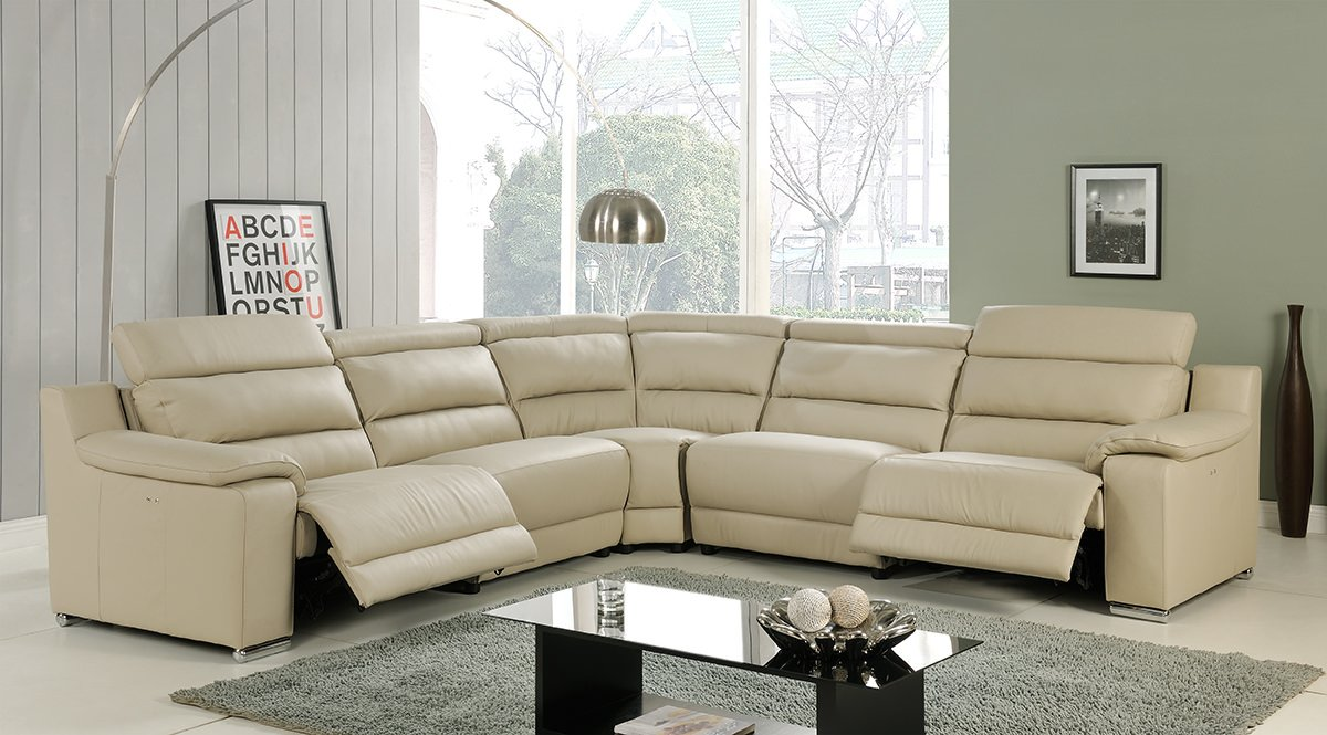 Elda Beige Italian Leather Sectional Sofa by At Home
