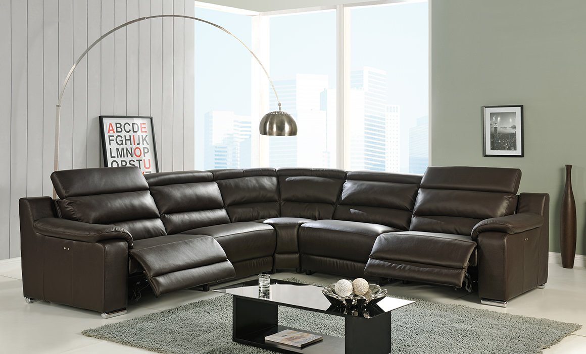 Elda brown italian leather sectional sofa by at home for Italian leather furniture