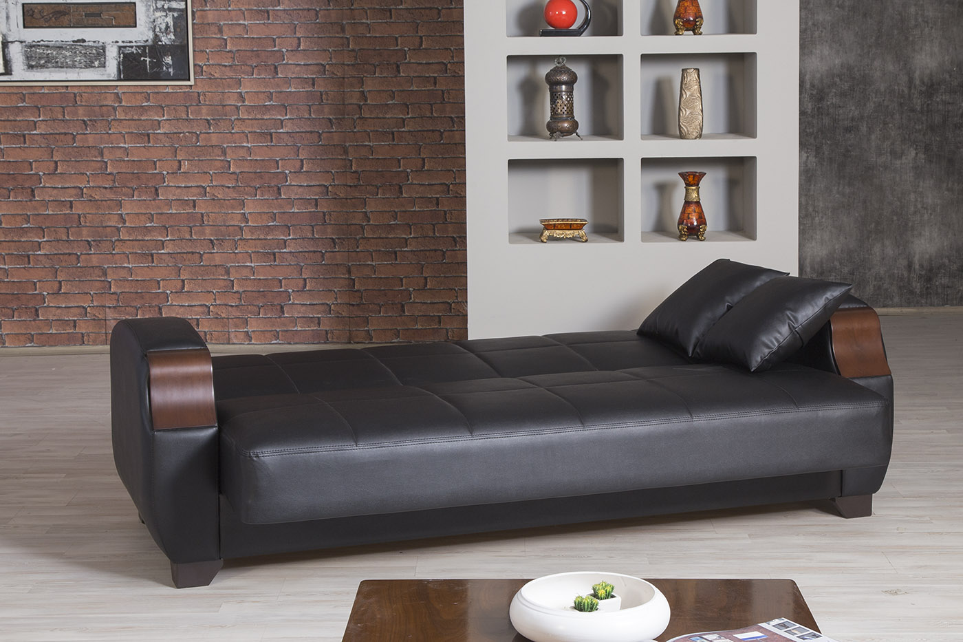 Euro moda zen black leatherette sofa by casamode for Sofa 99 euro