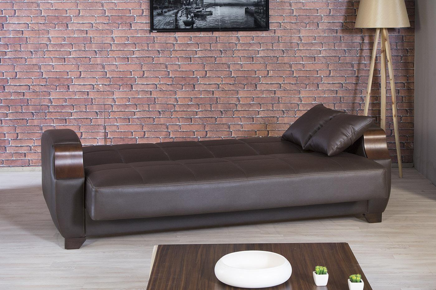 Euro moda zen brown leatherette sofa by casamode for Sofa 99 euro