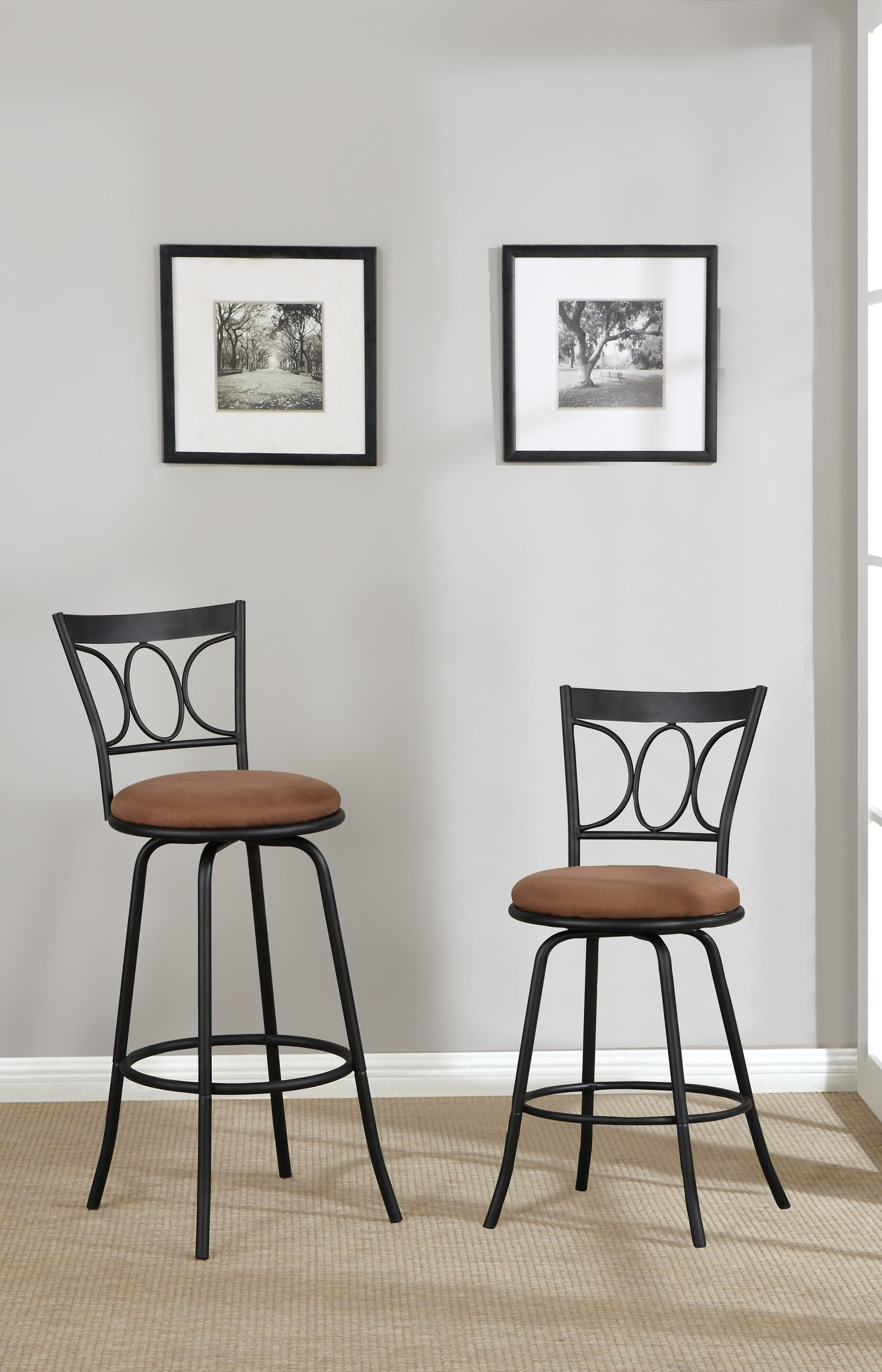 F1483 Black Swivel Barstool by Poundex