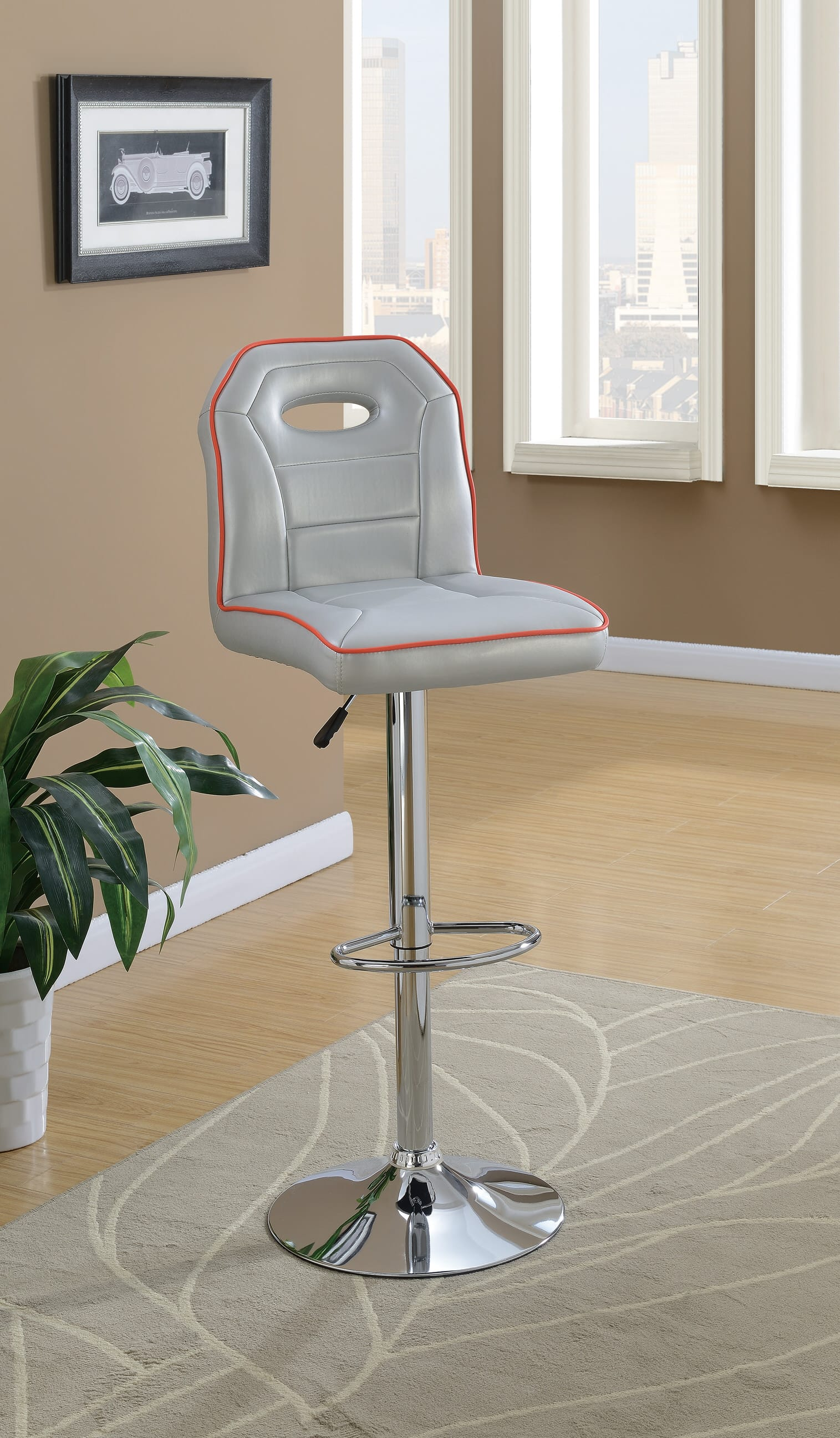 F1630 silver bar stool by poundex