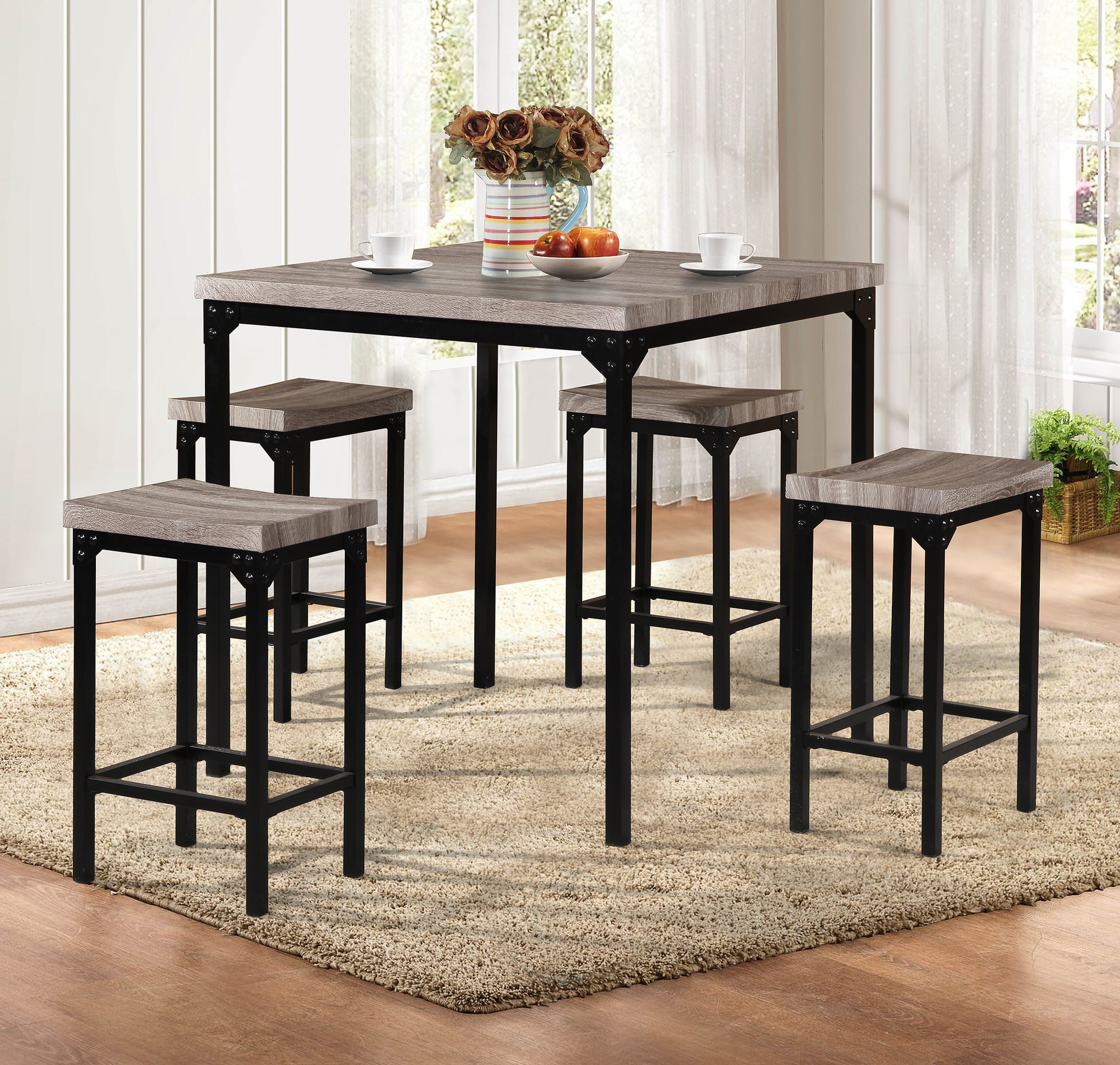 & F2141 5 Pcs Counter Height Table Set by Poundex