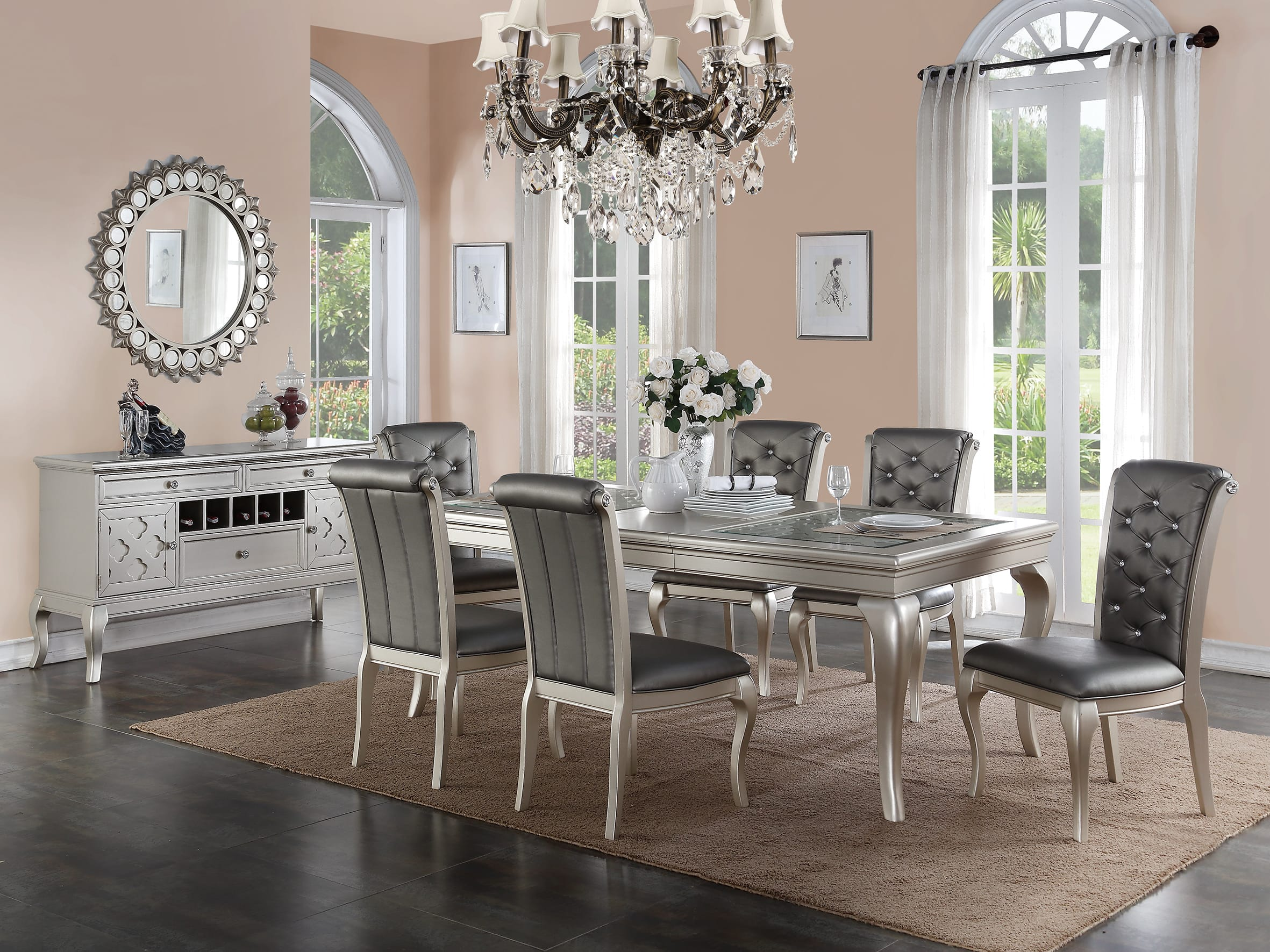 F2151 gray dining table by poundex for Dining room ideas vintage