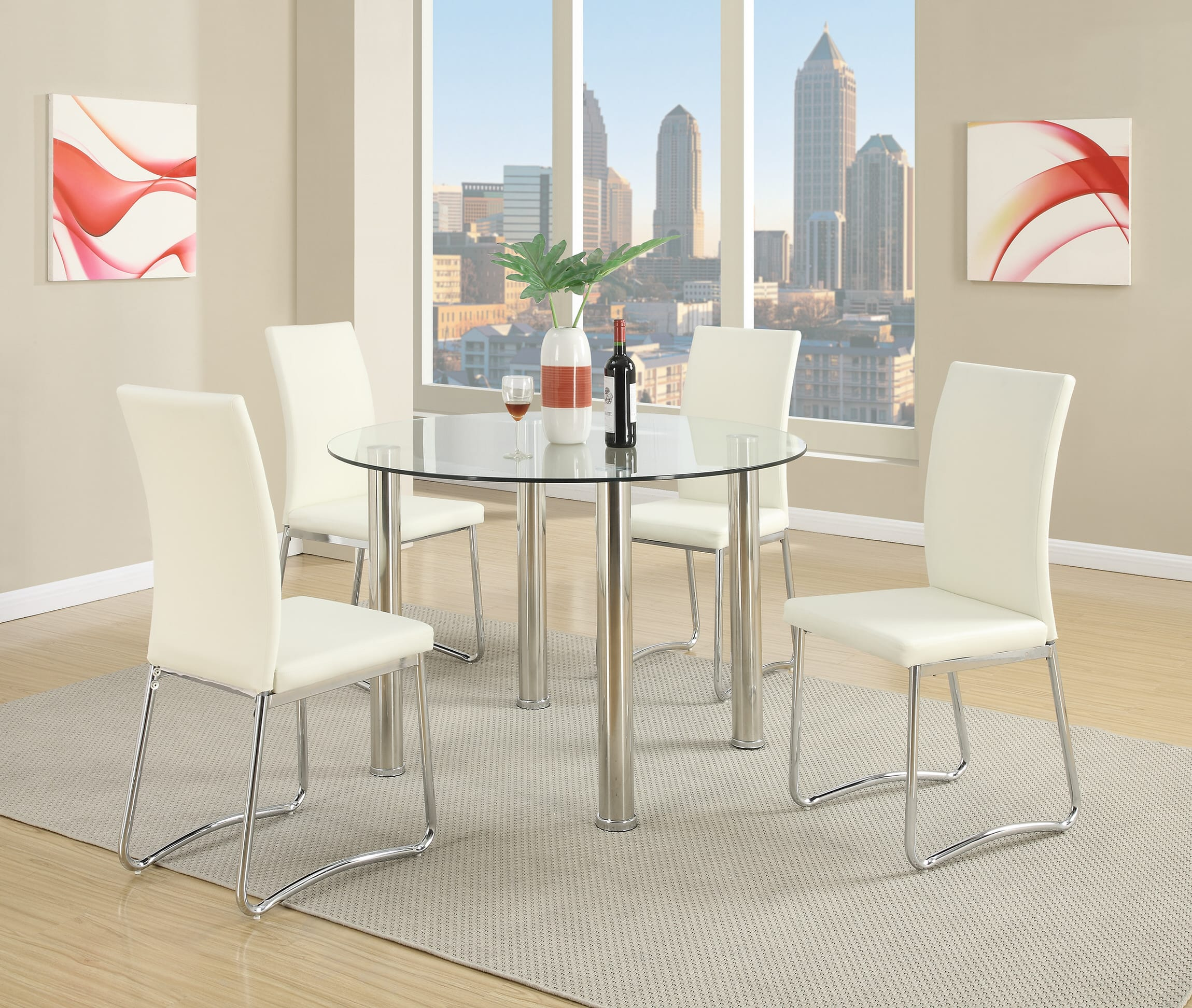 7ecf0c03e91e F1438 White Dining Chair (Set of 2) by Poundex