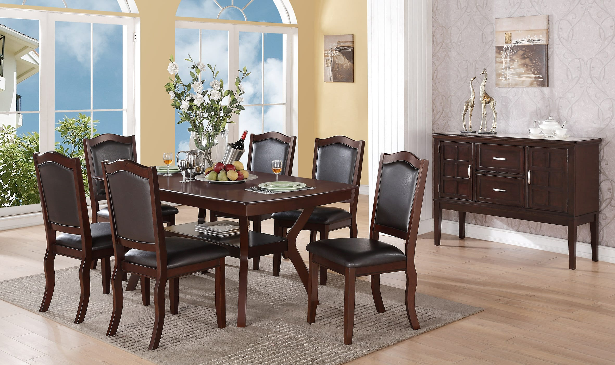 f1338 espresso dining chair (set of 2)poundex