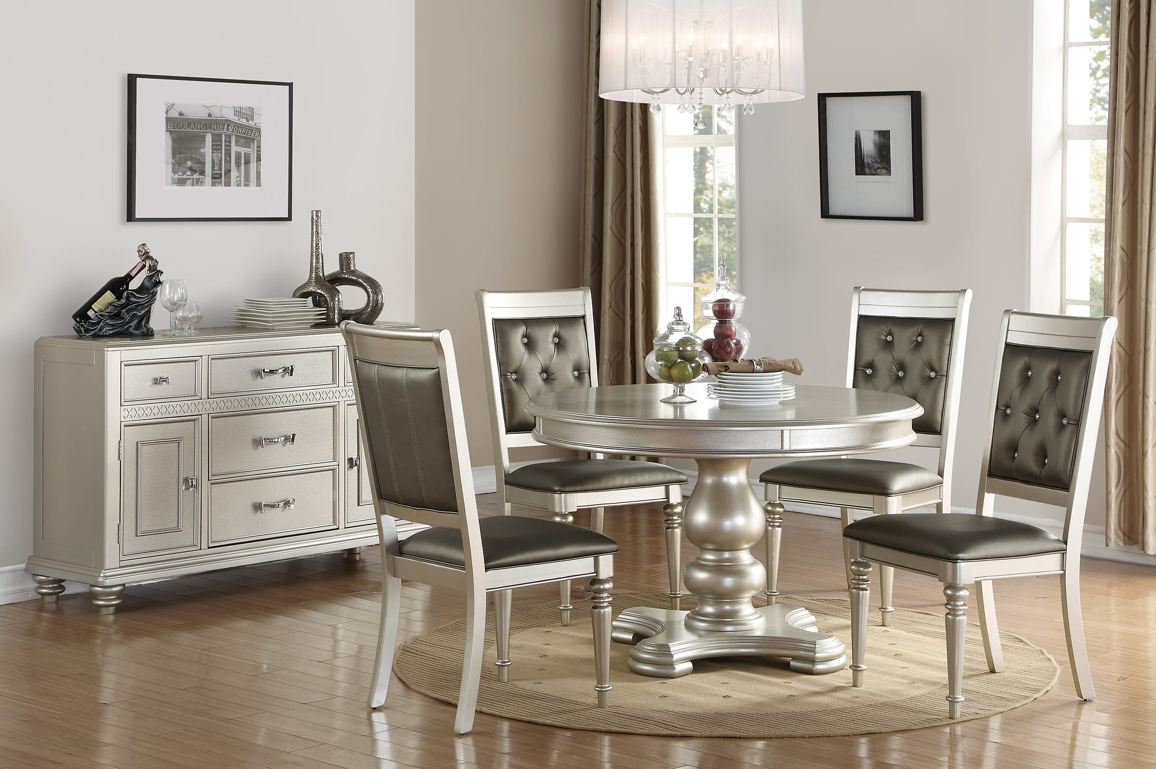 F2429 Silver Dining Table By Poundex